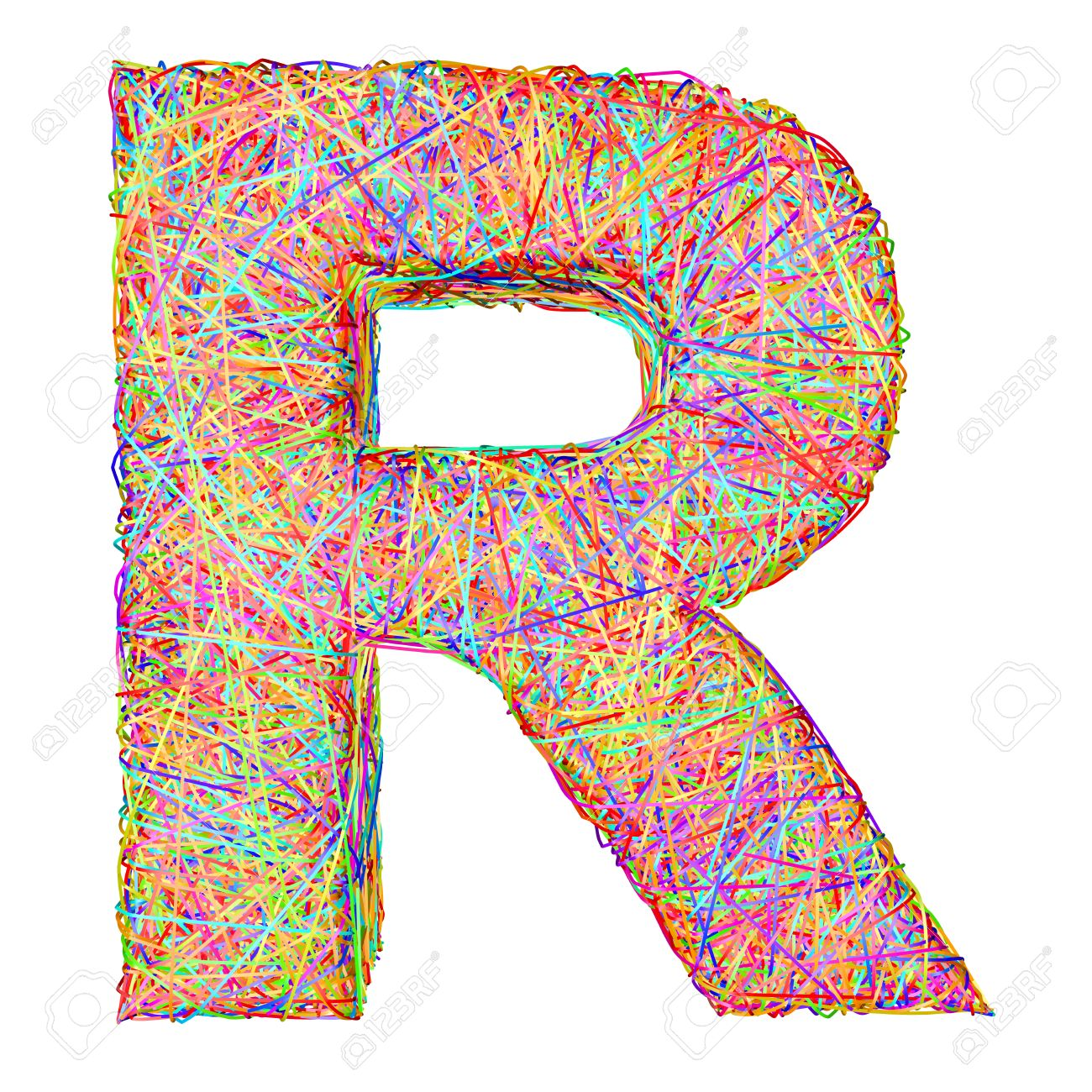 alphabet symbol letter r composed of colorful striplines isolated