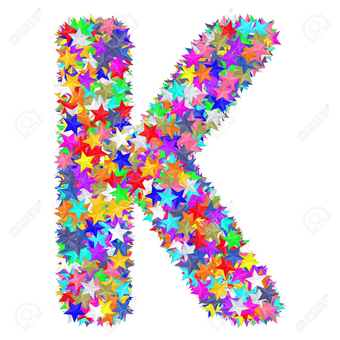 Alphabet Symbol Letter K Composed Of Colorful Stars Isolated Stock Photo Picture And Royalty Free Image Image 100347968