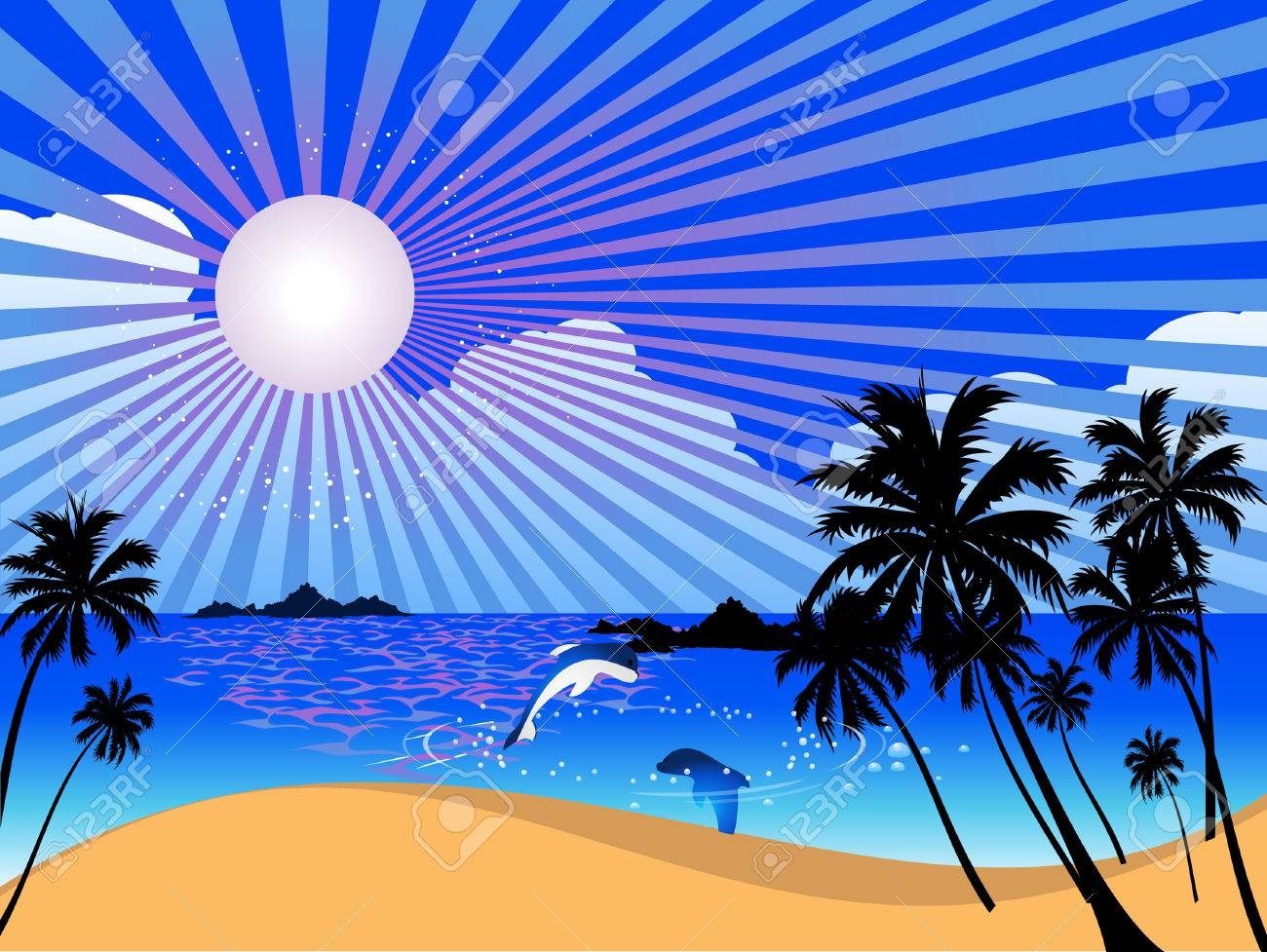 Vector  summer landscape with palm trees Stock Vector - 3302655