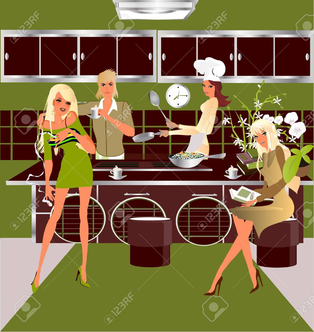 Kitchen Party Kitchen Party Royalty Free Cliparts Vectors And Stock