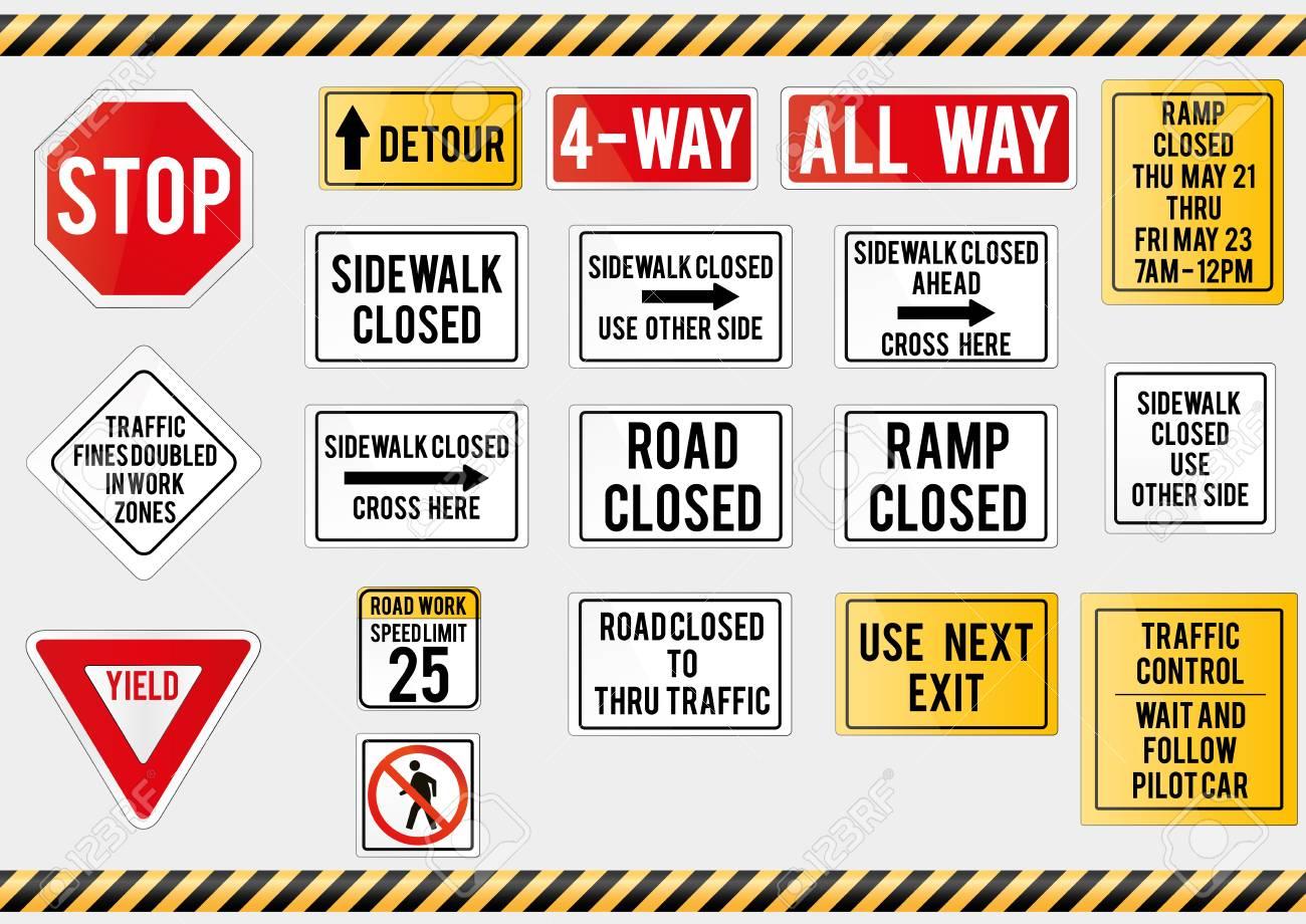 American traffic signs  Vector illustration of traffic signs