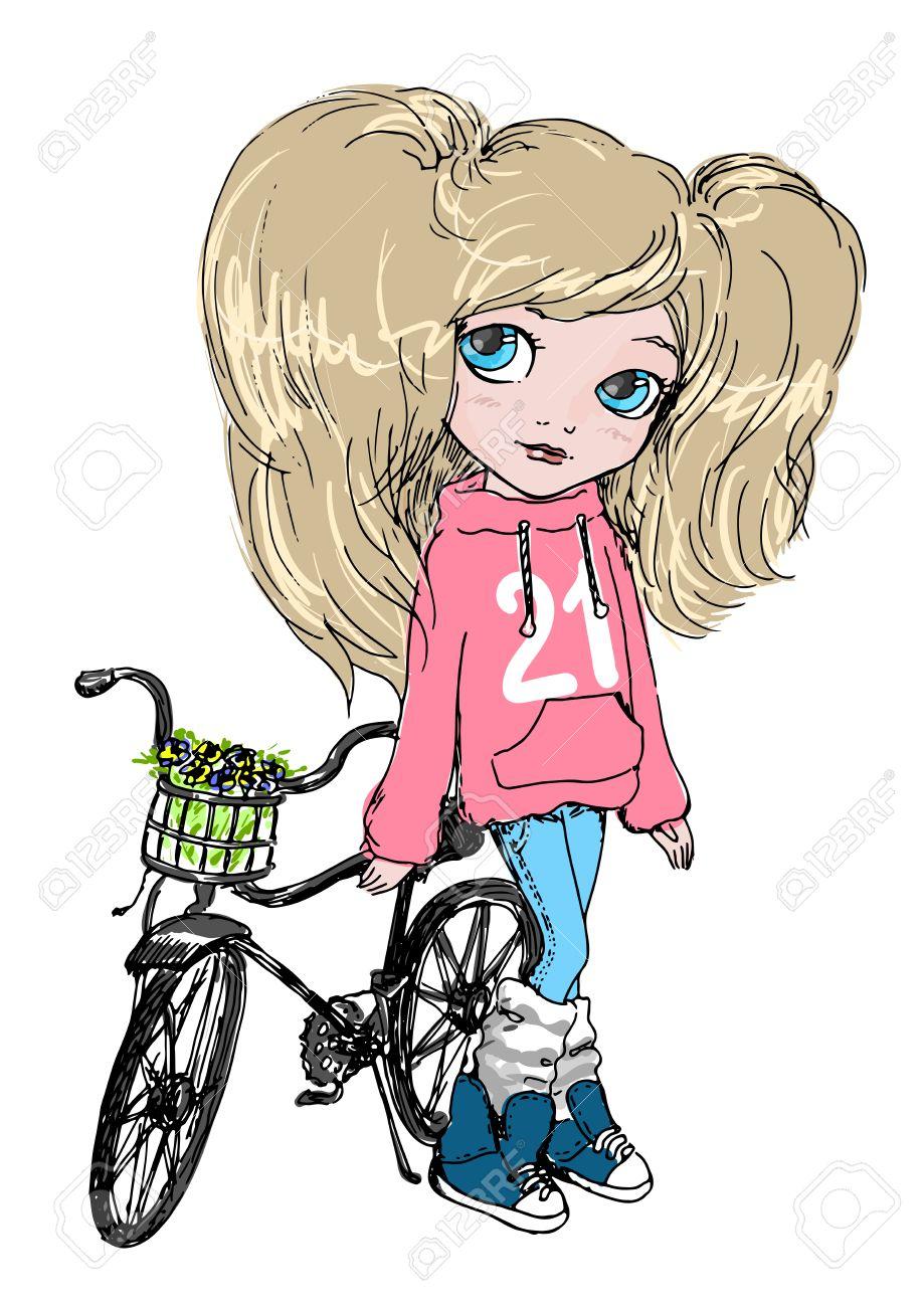 かわいい女の子のピンクのパーカーとジーパン、自転車で。アクティブ