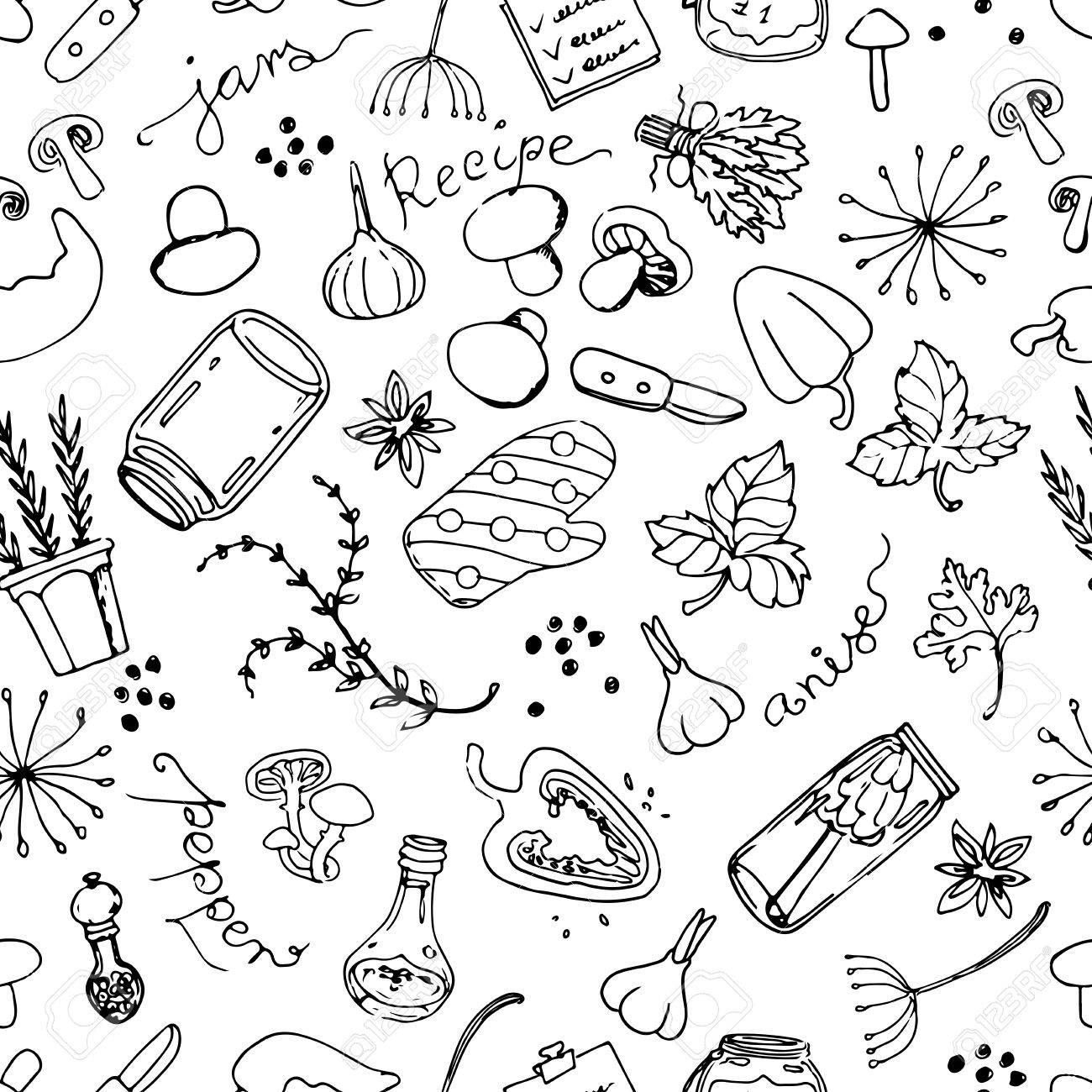 Doodle Sketch Salting Mushrooms Seampless Pattern. Kitchen Theme ...