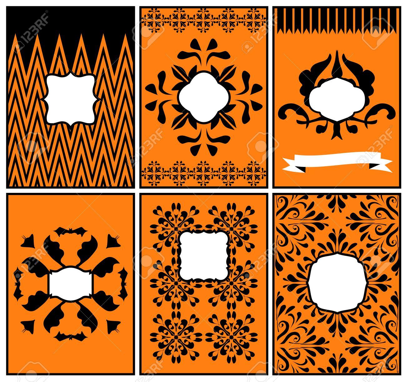 set of halloween templates backgrounds for invitations placecards