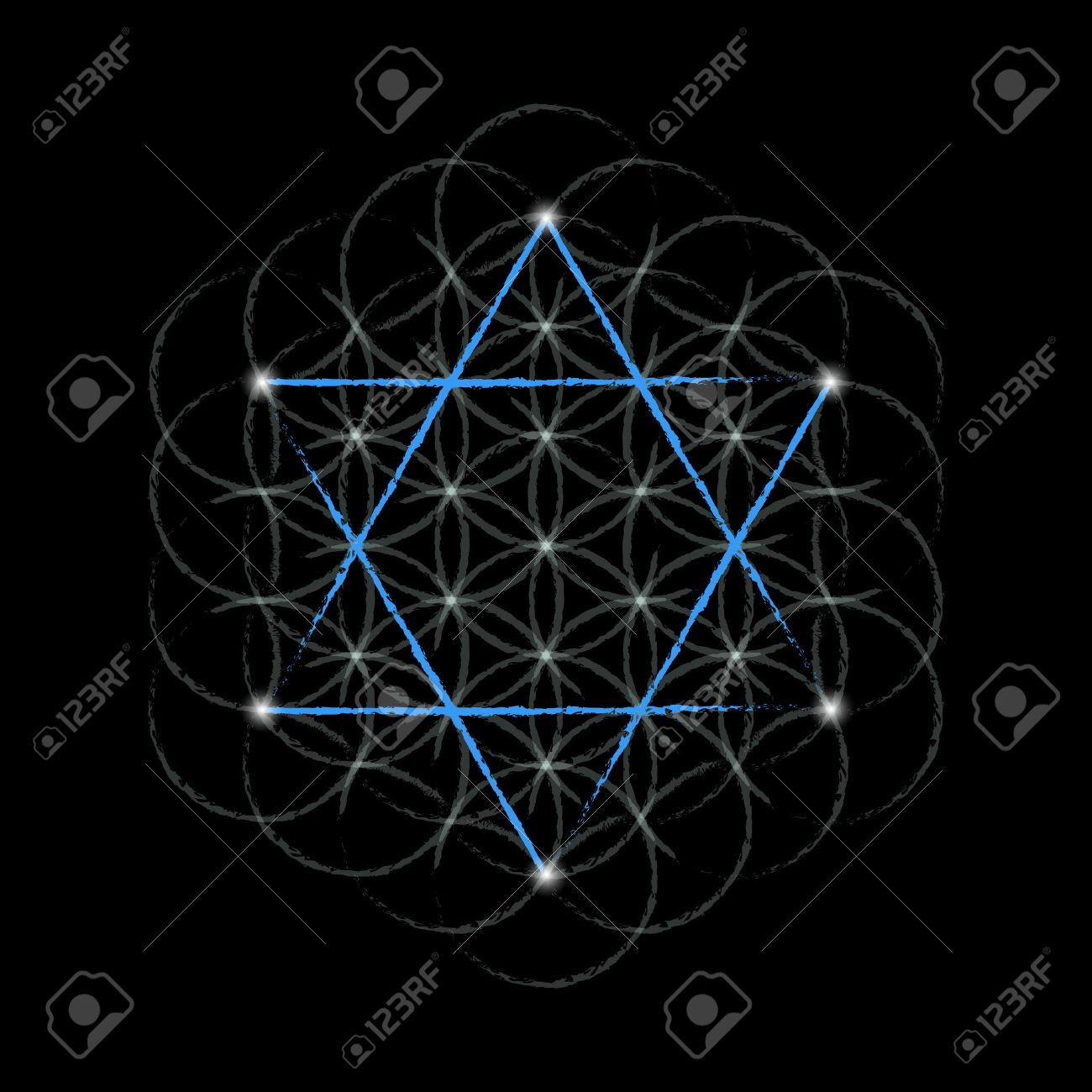 flower of life with david star sacred geometry vector illustration