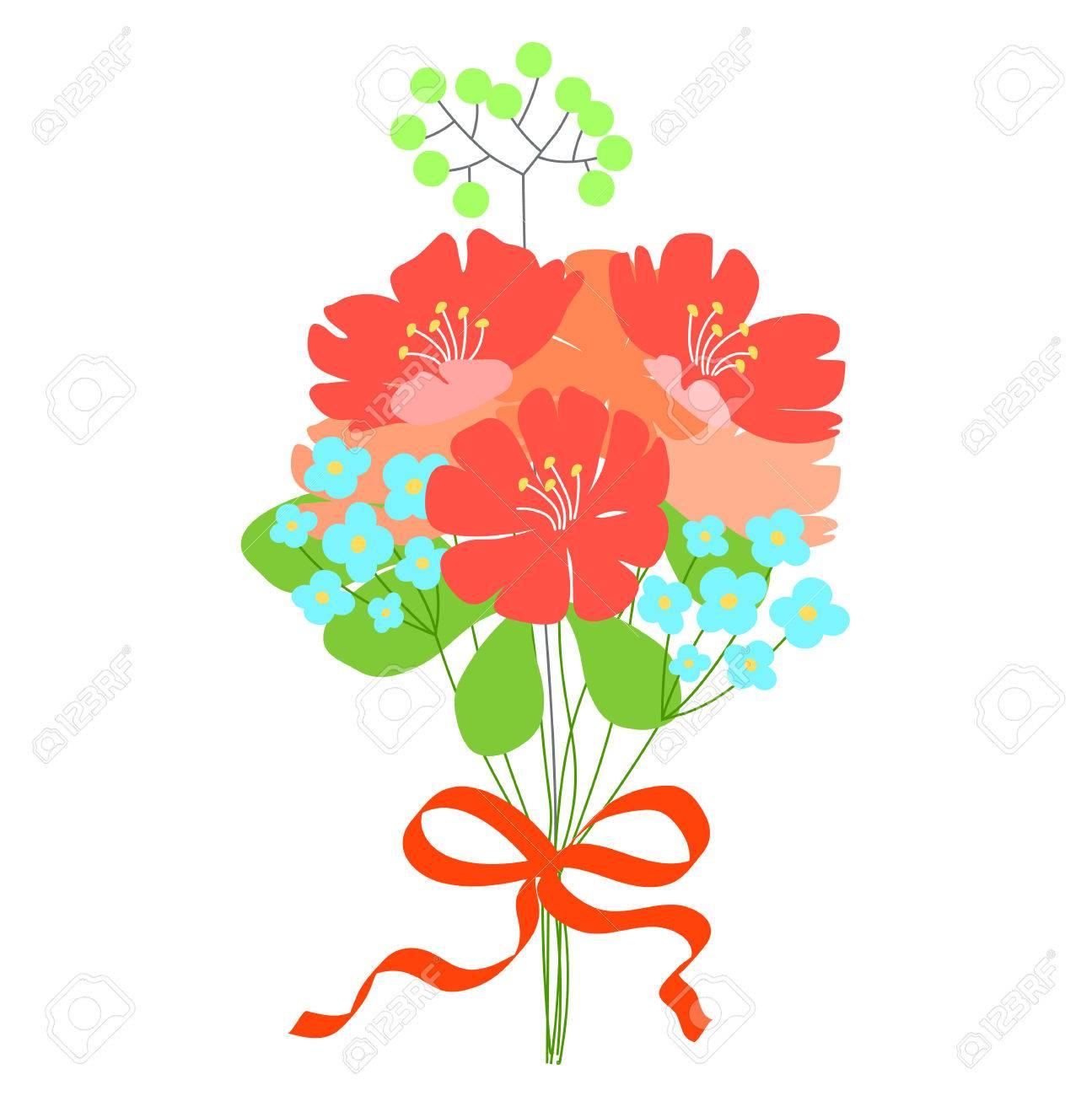 Gift, Flower Bouquet. Wedding Invitation Or Greeting Card. Cute ...