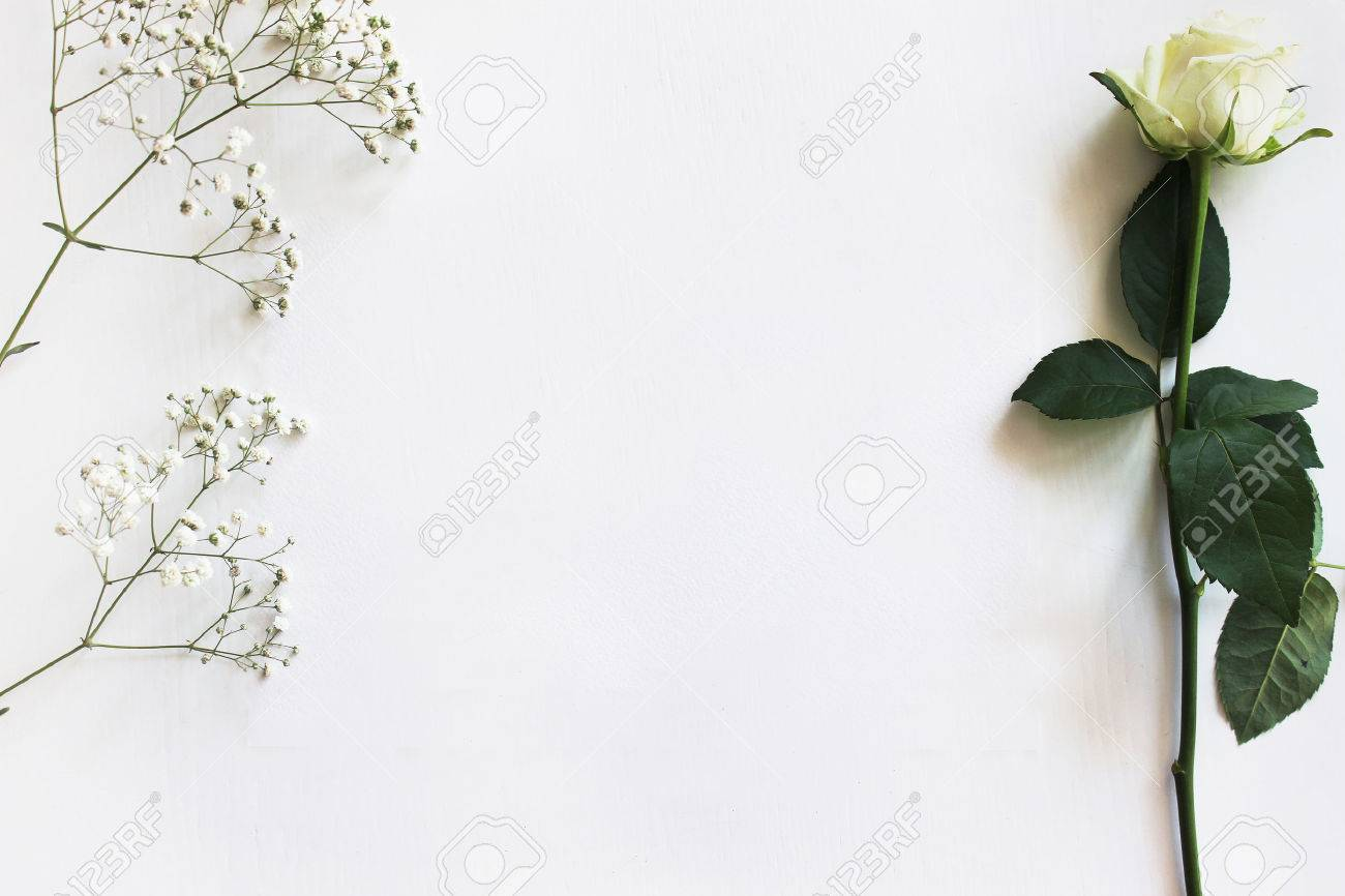 Modern Trendy Mockup Layout Template With A White Rose And Gypsophila Wedding Invitation