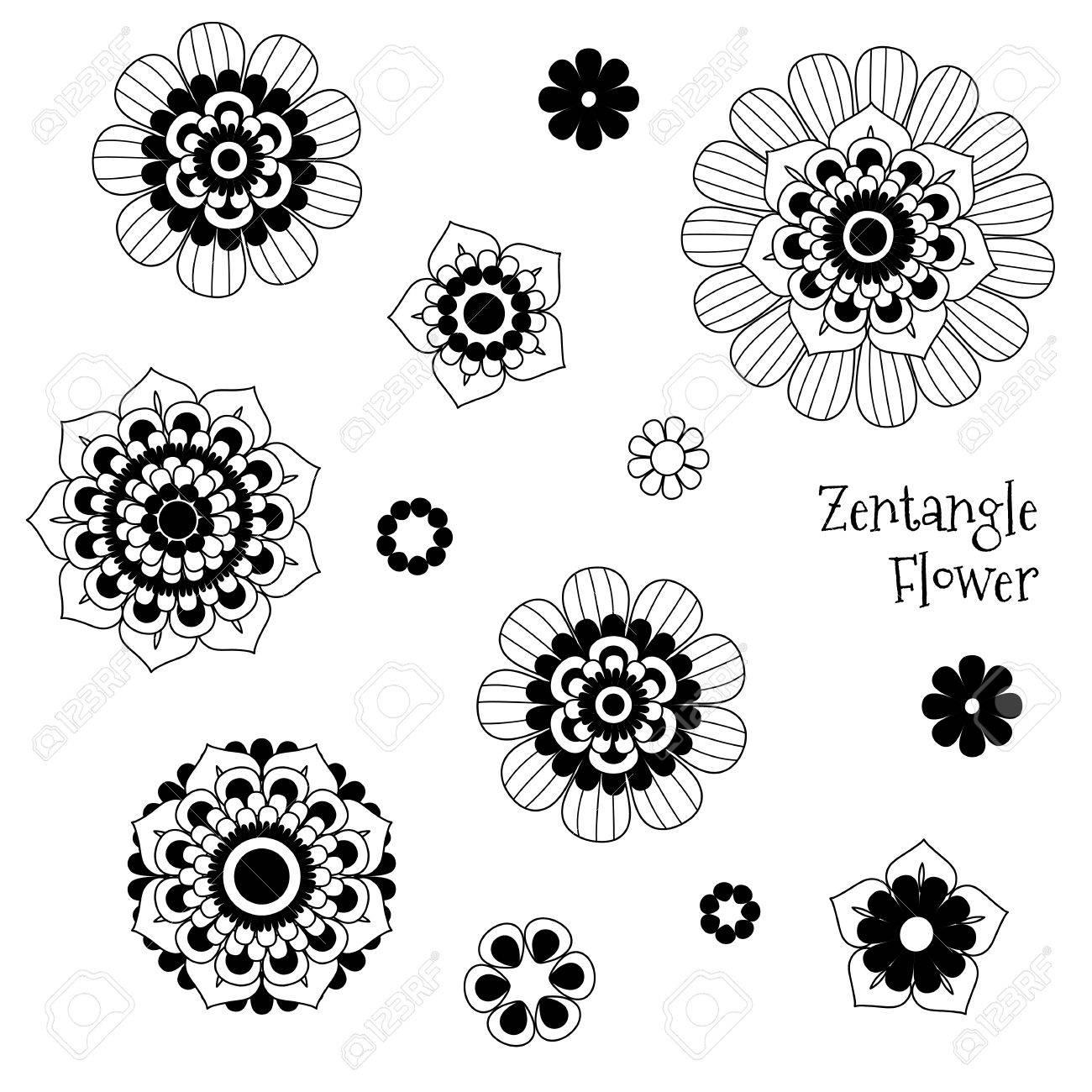 Doodle Flowers Design Elements Original Vector Illustration Tattoo Mehendi And Mandala