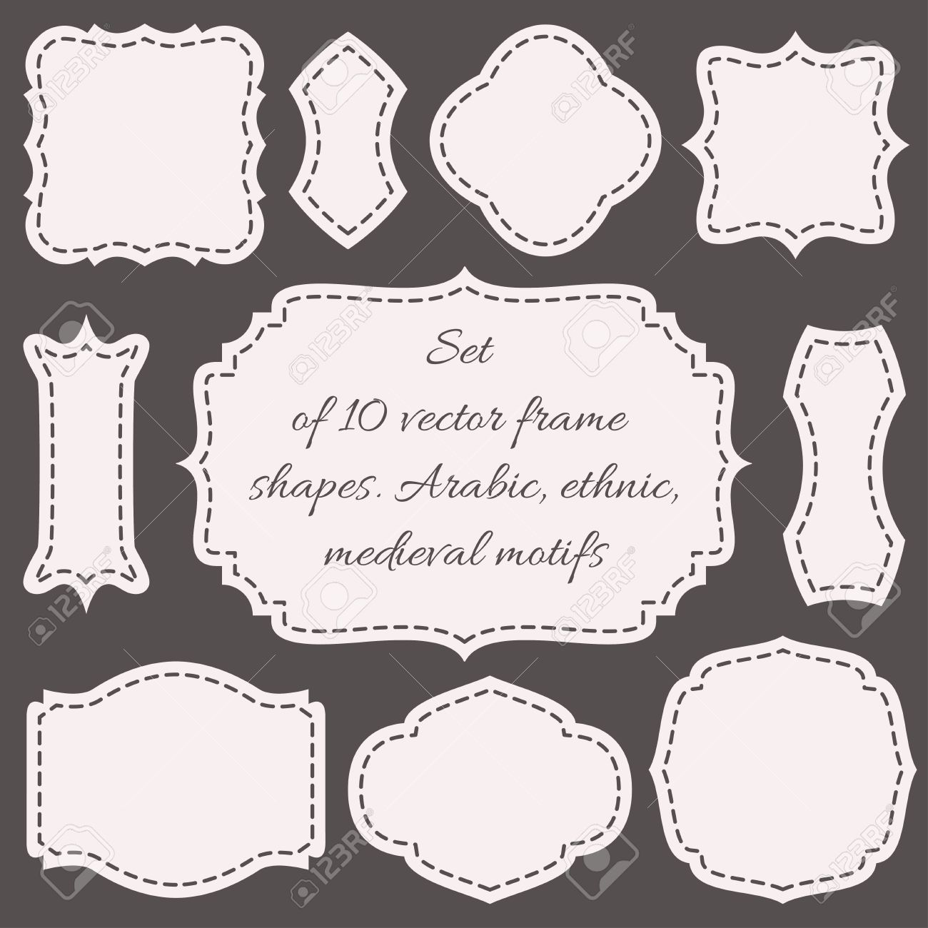 Set of ten vector frames shapes wedding boards royalty free set of ten vector frames shapes wedding boards stock vector 53141200 jeuxipadfo Images