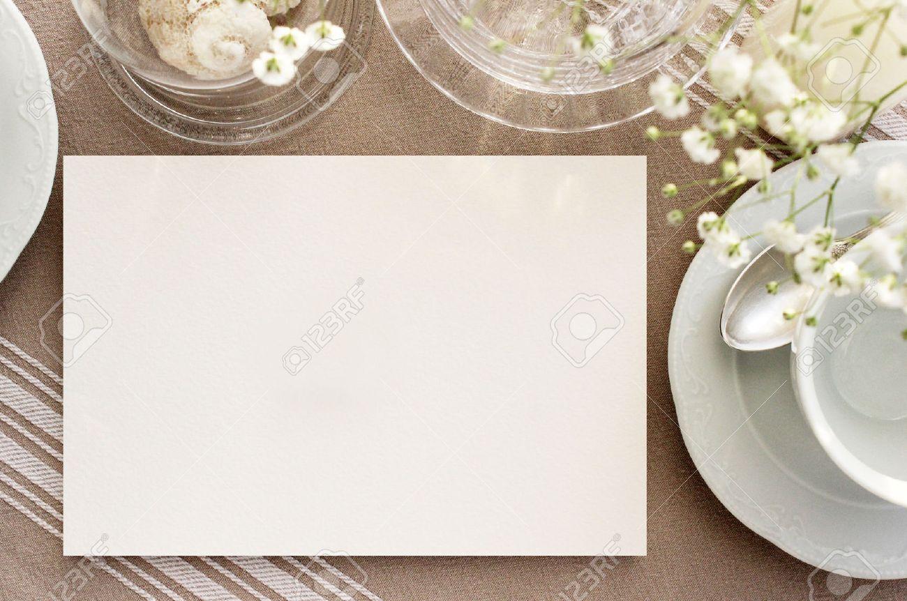 Vintage Tea Invitation Mockup Blank Card On A Table With Vintage