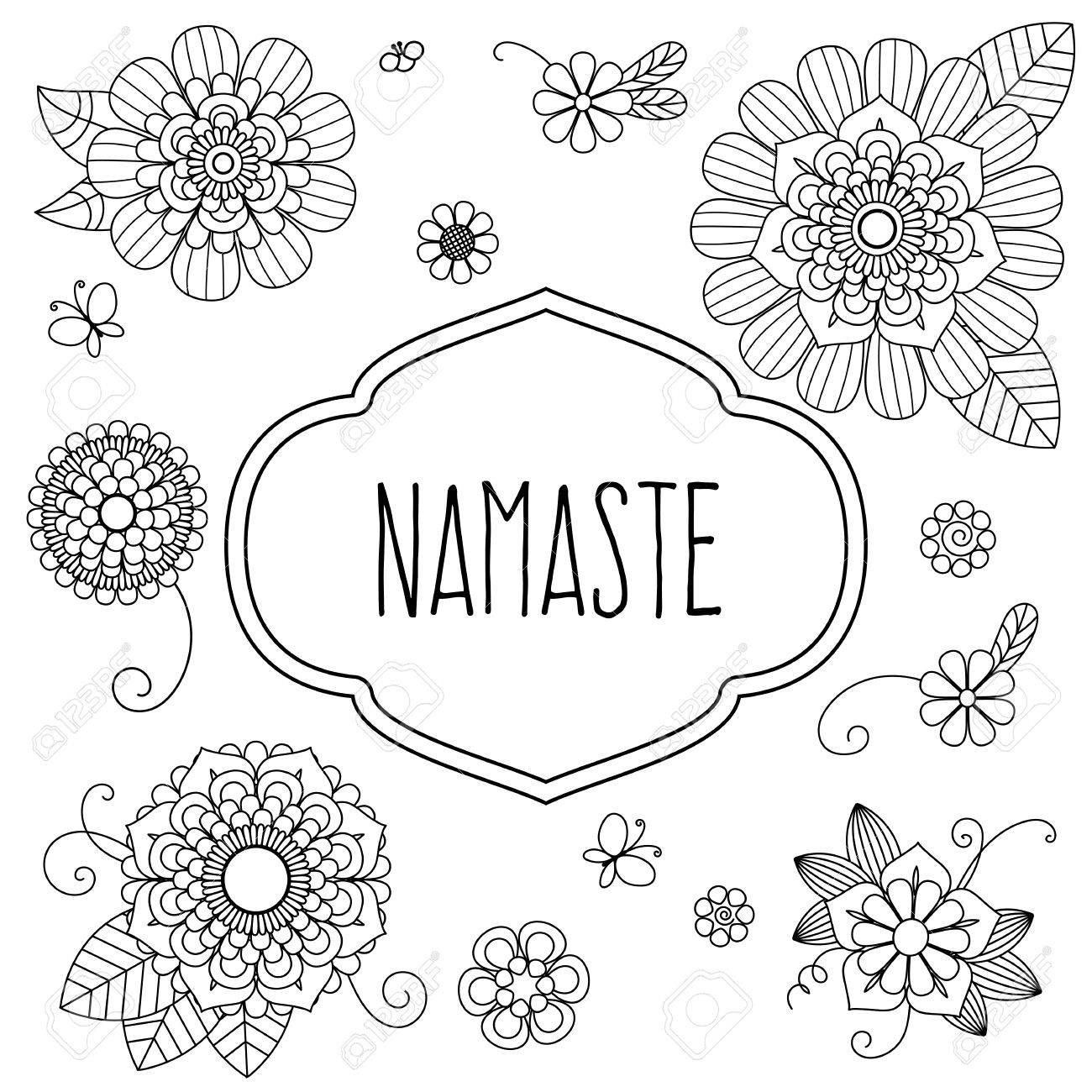 Indian welcome greeting namaste decorated with floral elements indian welcome greeting namaste decorated with floral elements translation is hello stock vector m4hsunfo