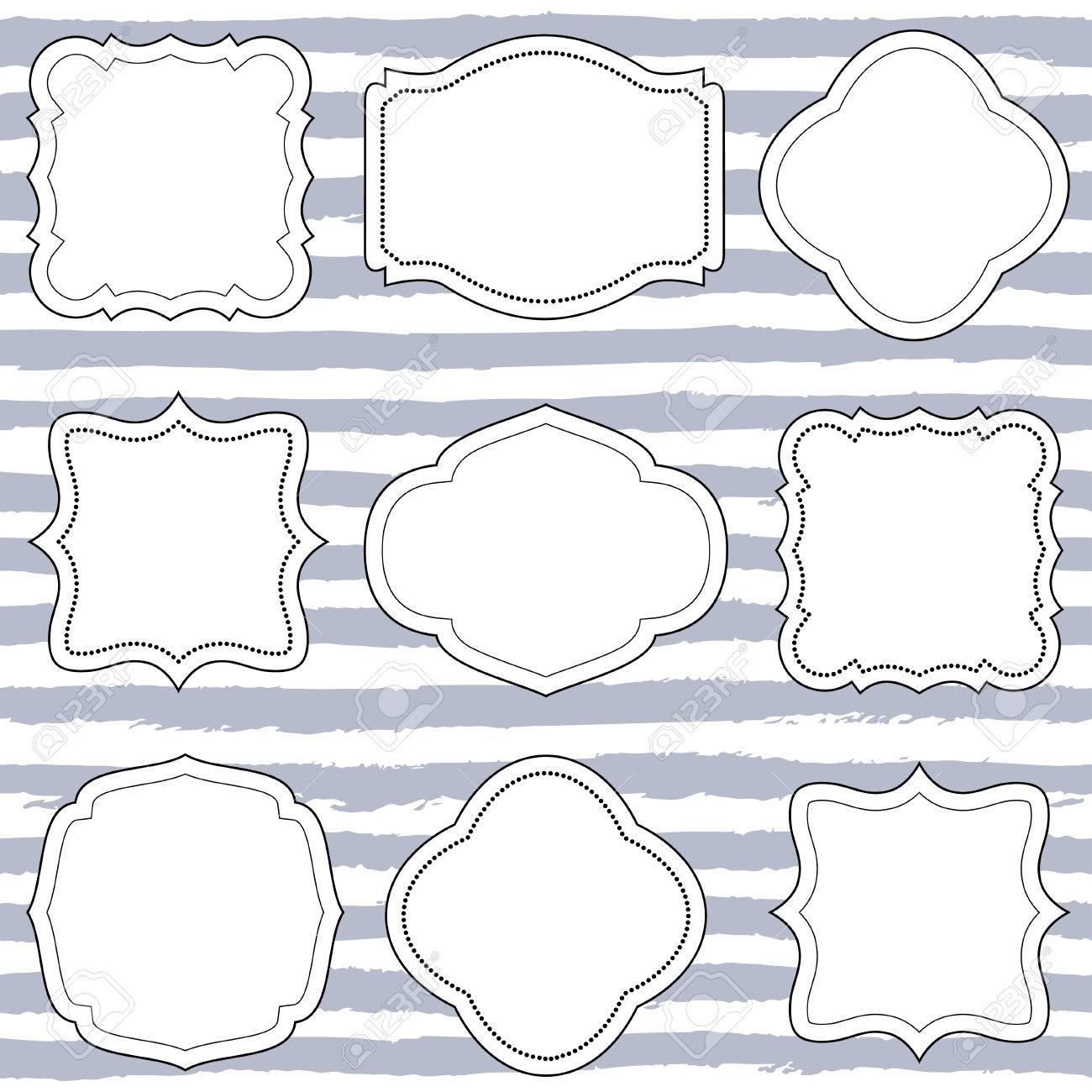 Set of nine vintage vector frames shapes wedding boards label set of nine vintage vector frames shapes wedding boards label tags jeuxipadfo Images