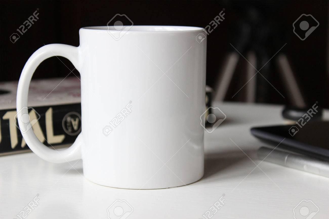White cup, mug for Man. Mockup for designs. - 58879933