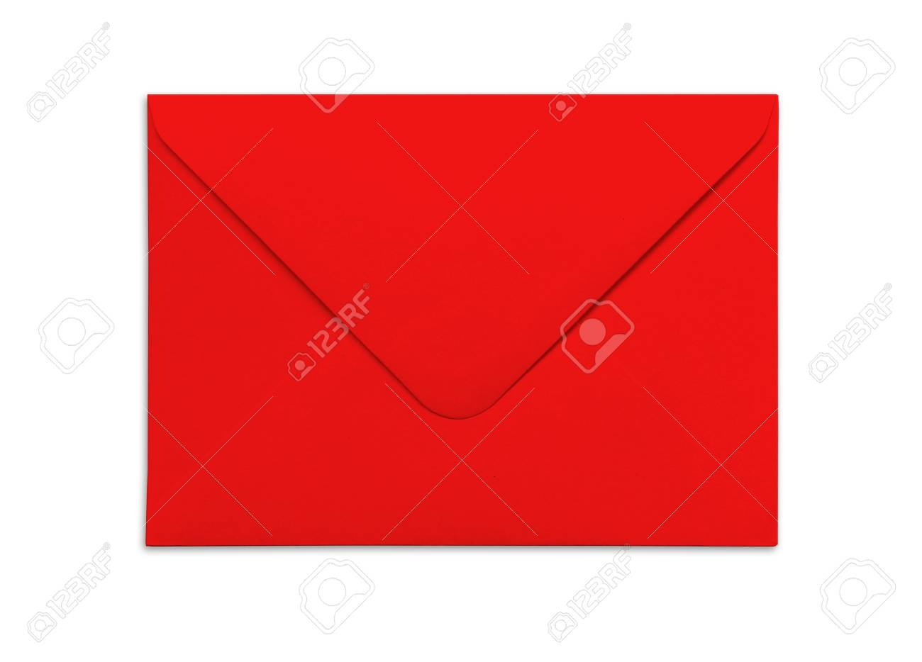 blank red envelope isolated on white background with shadows