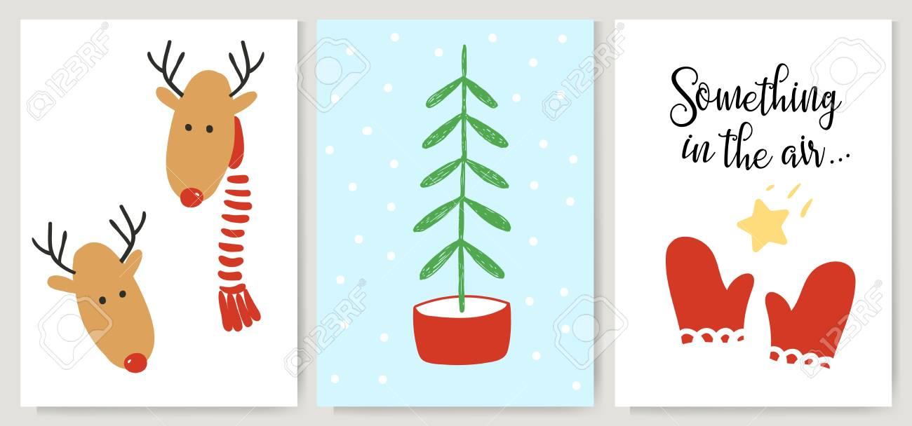 Cute Xmas Cards, Posters, Lettering In Cartoon Style. Deer ...