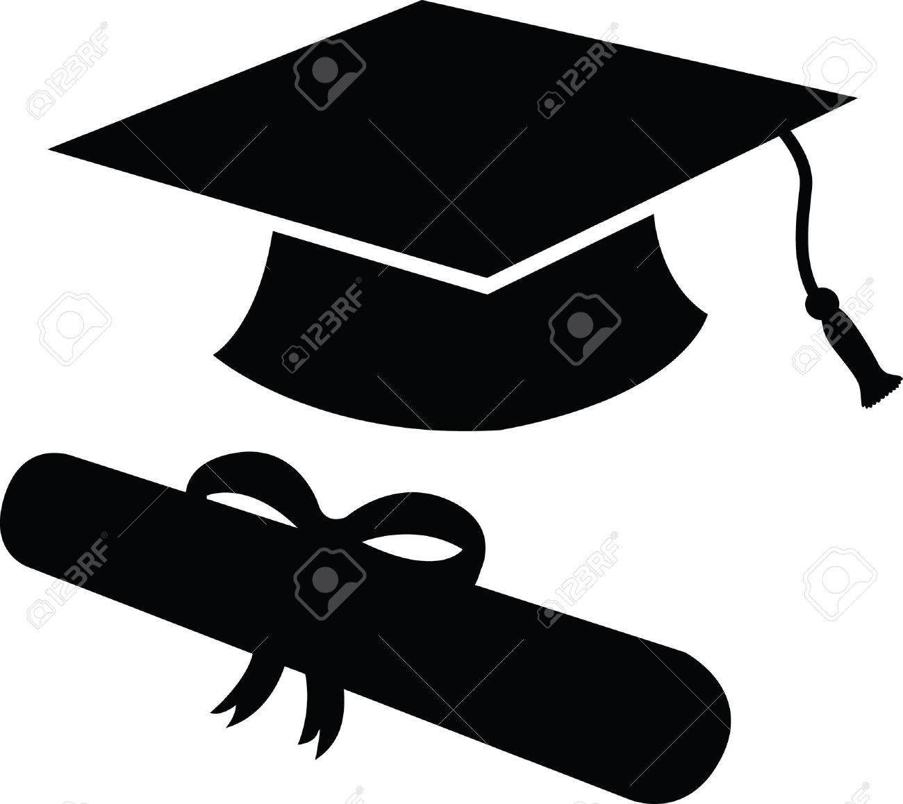 graduation cap and diploma in black silhouette icon or symbol rh 123rf com graduation cap vector silhouette graduation cap vector silhouette