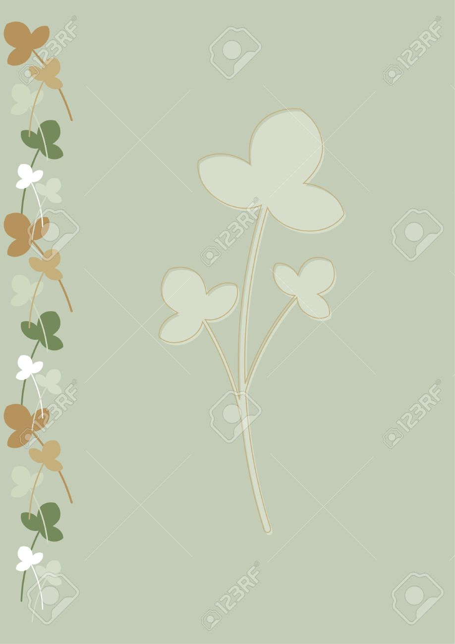 background for stationery with green beige and brown flowers