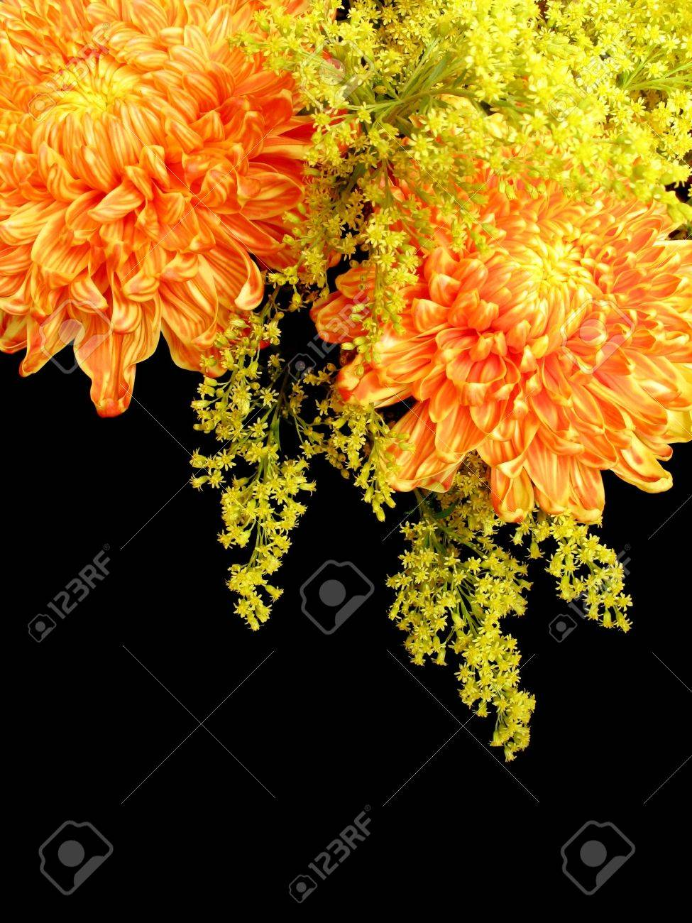A Flower Arrangement Of Red Orange And Yellow Chrysanthemums