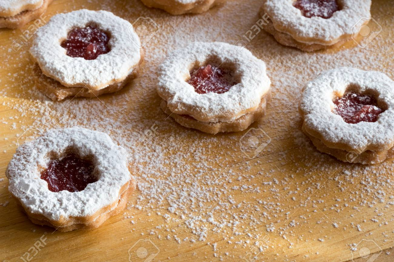 Traditional Linzer Christmas Cookies With Strawberry Jam Dusted Stock Photo Picture And Royalty Free Image Image 91543418