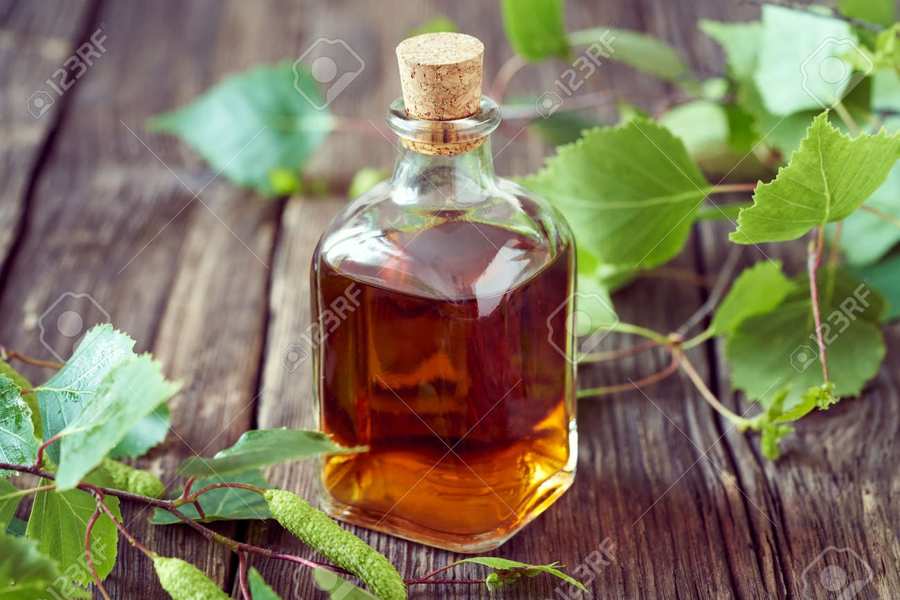 A transparent bottle of homemade herbal tincture with fresh birch branches - 169337991