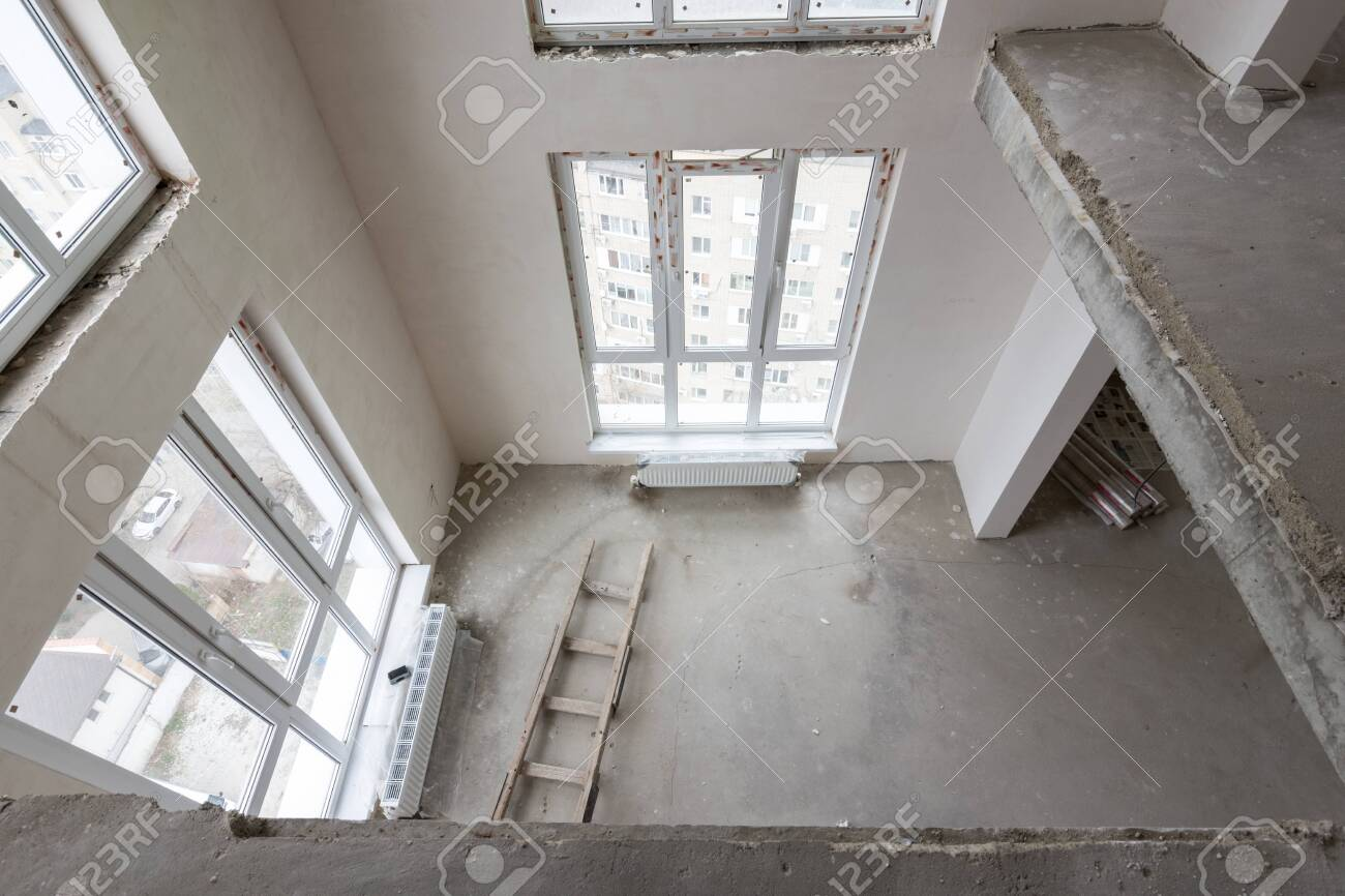 View from the second floor to the first floor in a two-story
