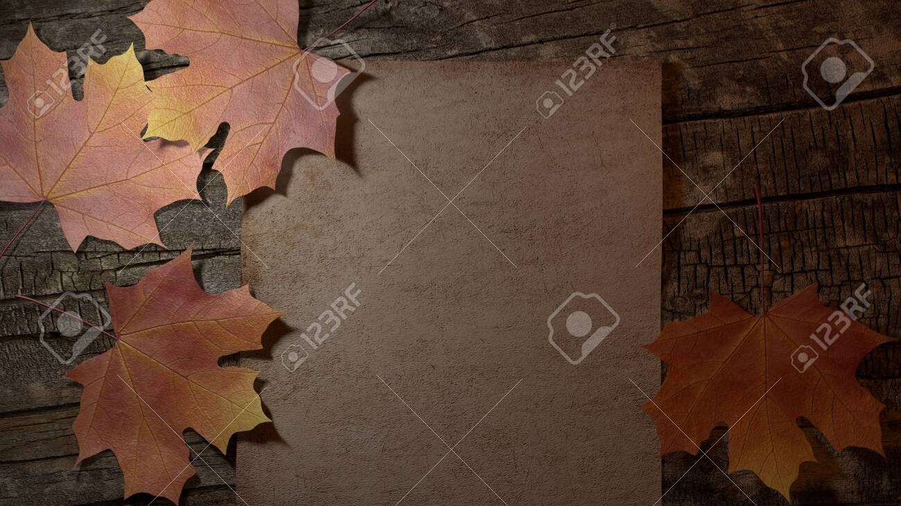 This is a 3d illustration of a natural setting with dry leaves and the typical colors of the autumn season. Complete it with your text and have fun! - 140155440