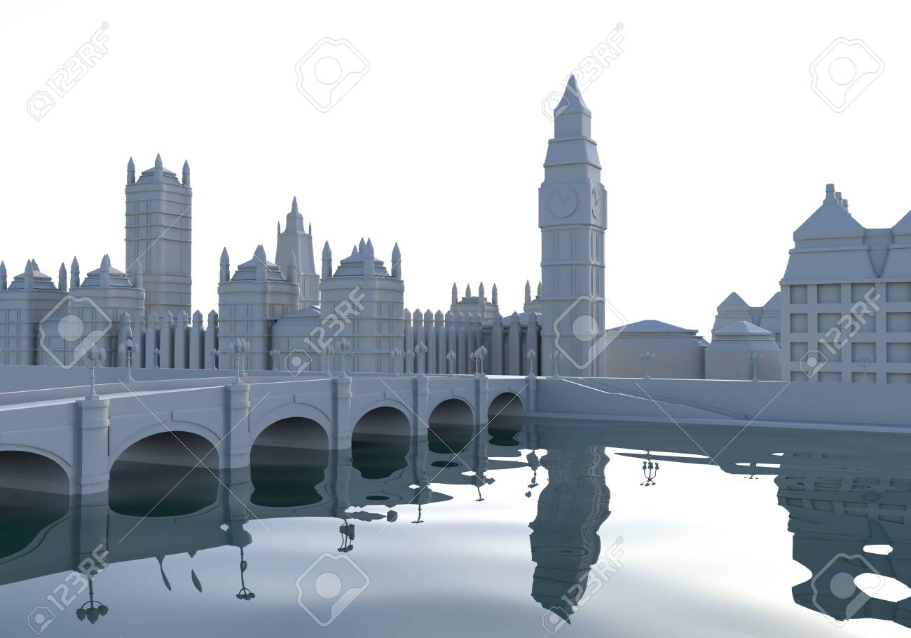 This 3d cartoon illustration shows a London city view - 144346028