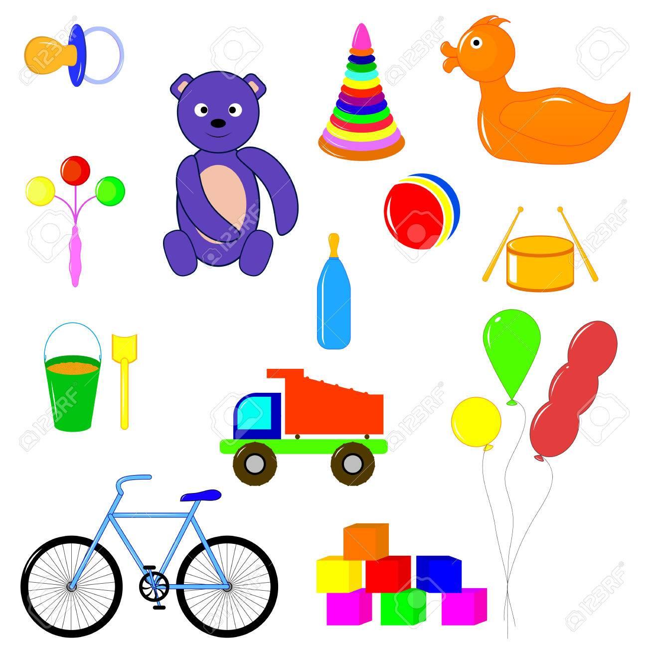 5fce6dc2f4 Archivio Fotografico - Oggetti per bambini e giocattoli per i bambini di  età diverse