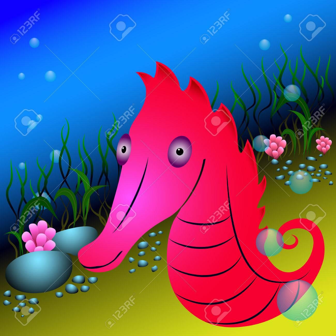 Caballito De Mar Rojo Y Algas Bajo El Agua. La Vida Bajo El Agua Con ...