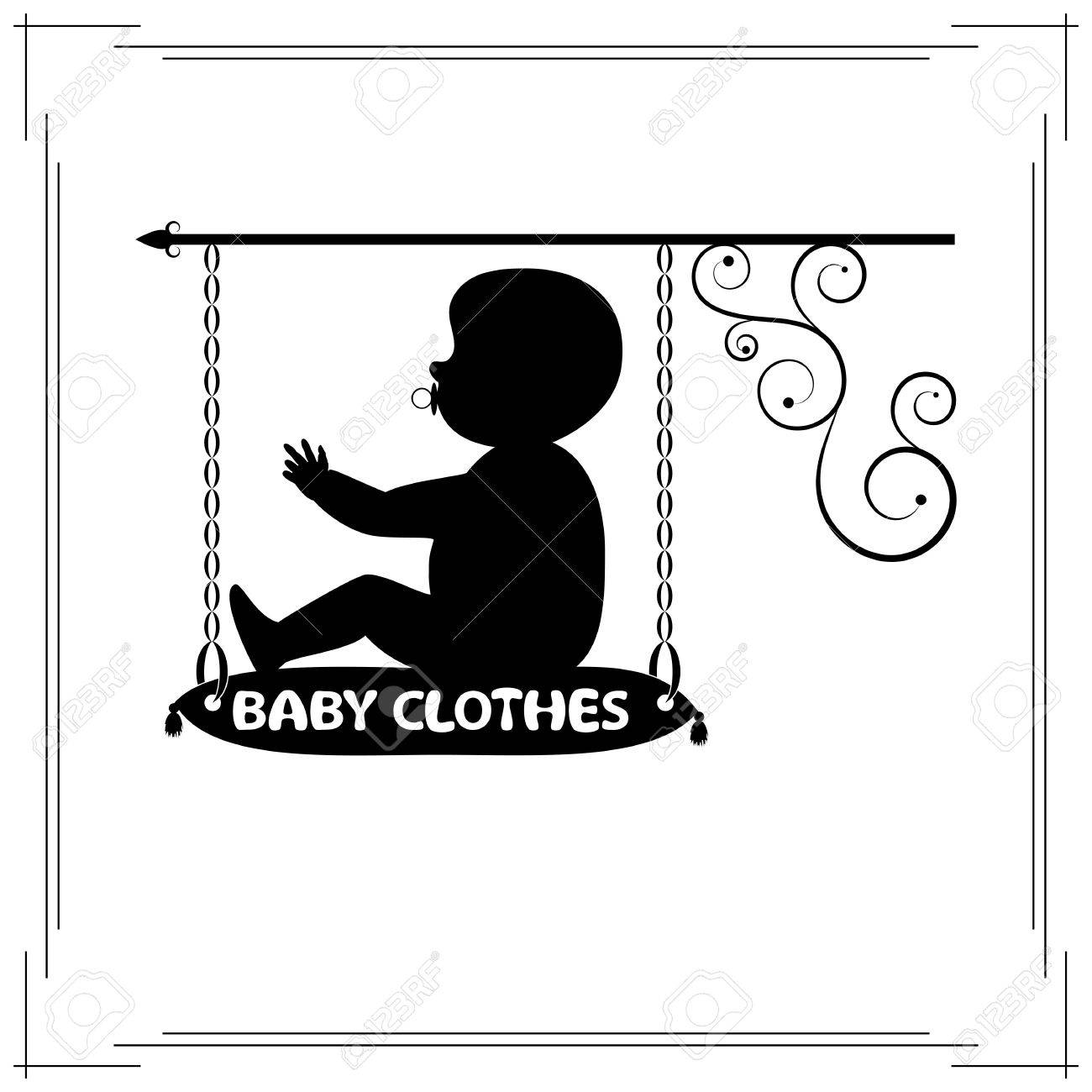 Baby Clothes Single Signboard Black Signboard Of Fashionable