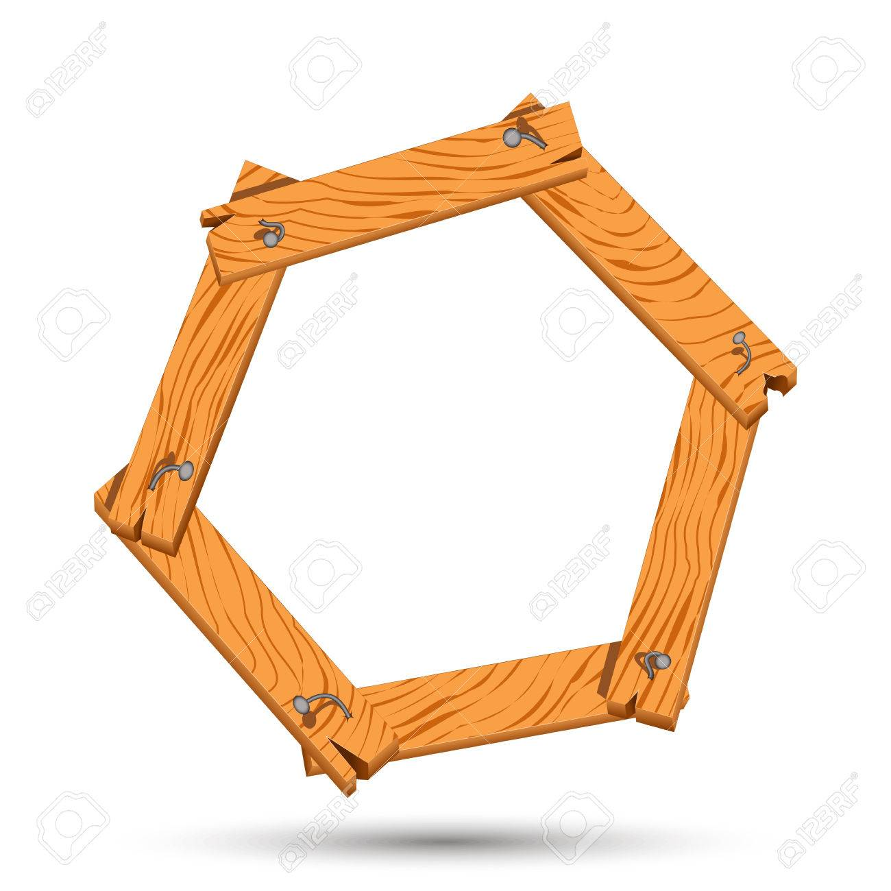 Wooden Boards As Frame With Nails. Hexagon Of Boards Hammered ...