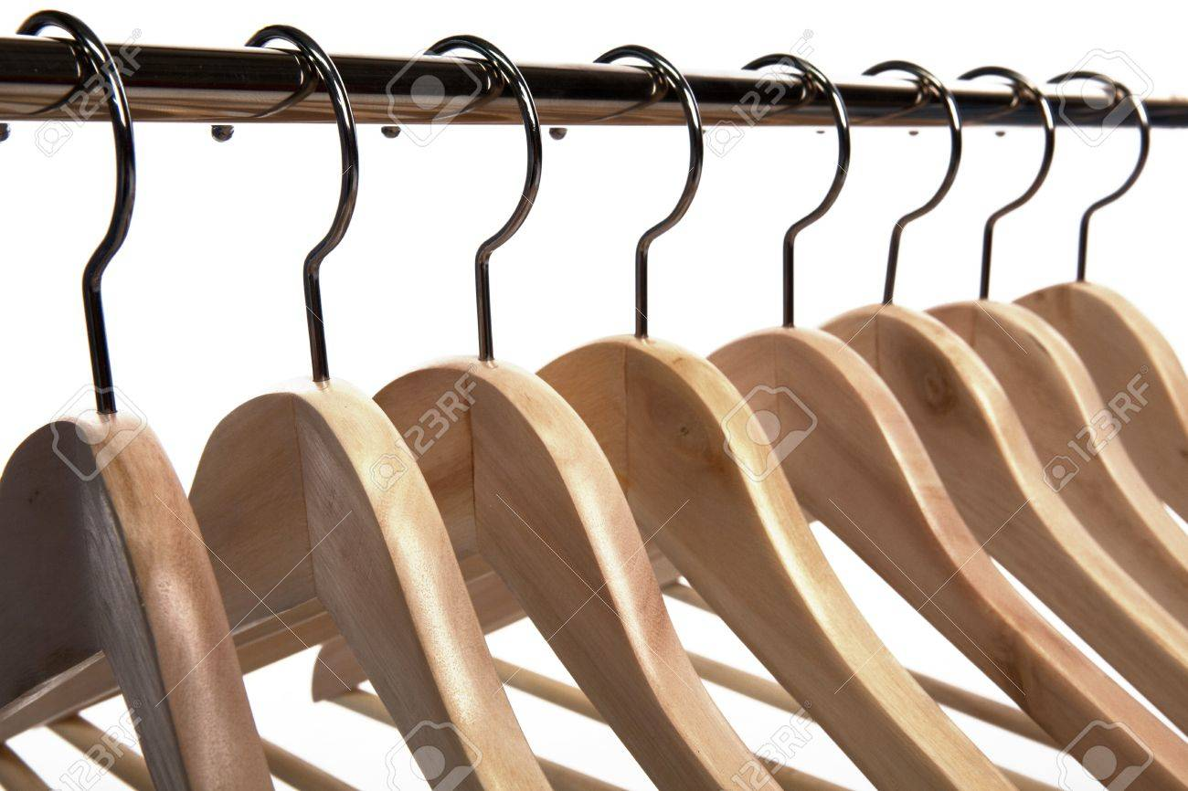 Wooden Clothes Hangers on a White Isolated Background Stock Photo - 7510673