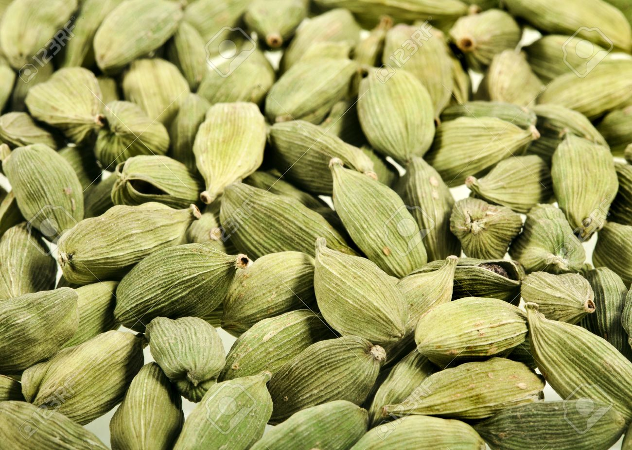 Green Cardamom Seeds Aromatic Spice Texture Background
