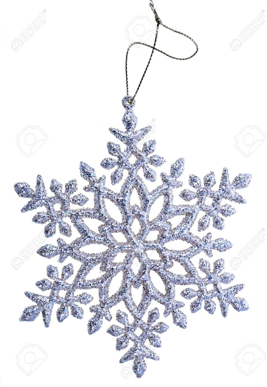 christmas snowflake shape decoration isolated on white Stock Photo - 18428302