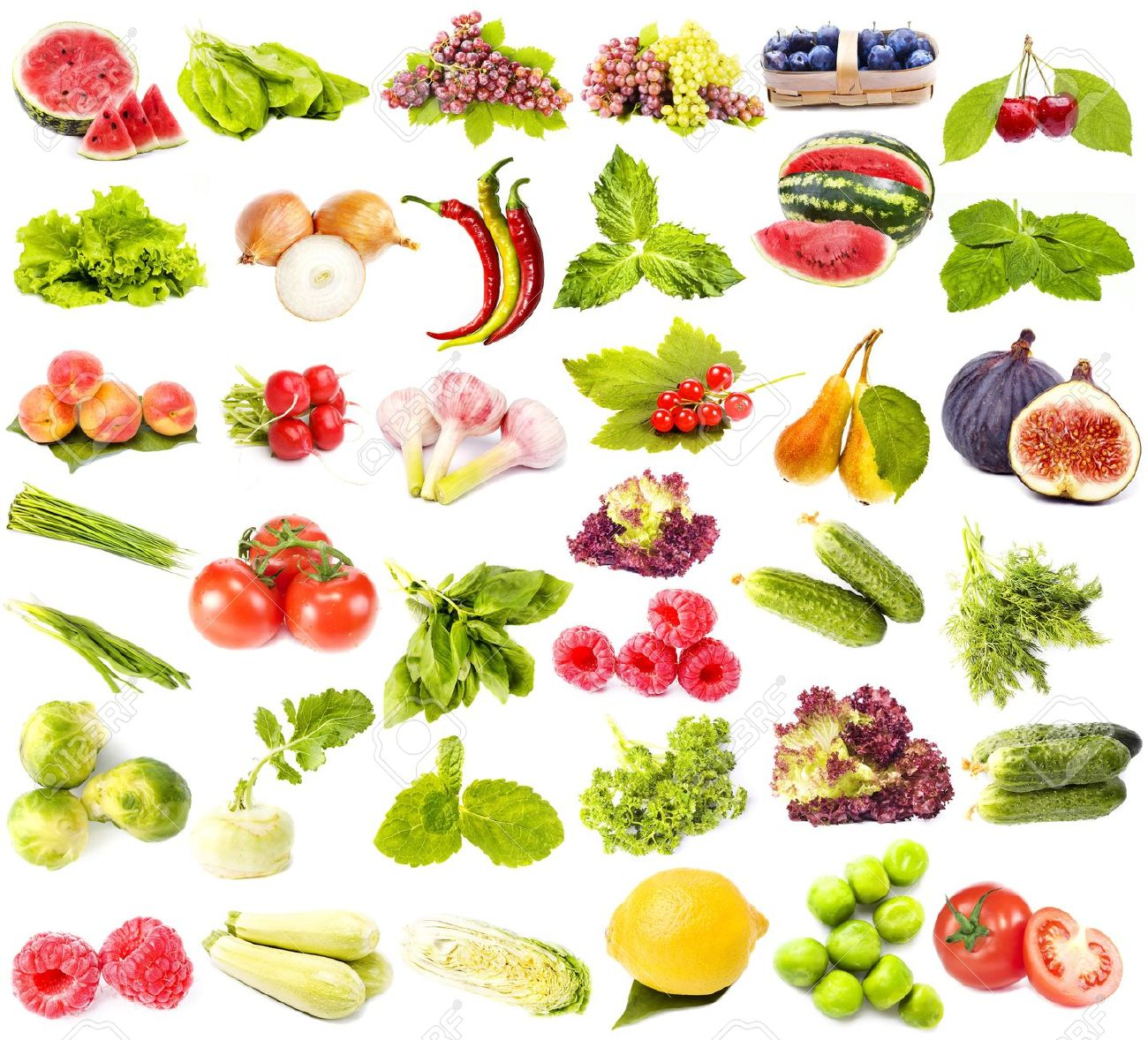 collection set of fresh juicy fruits vegetables and berries stock