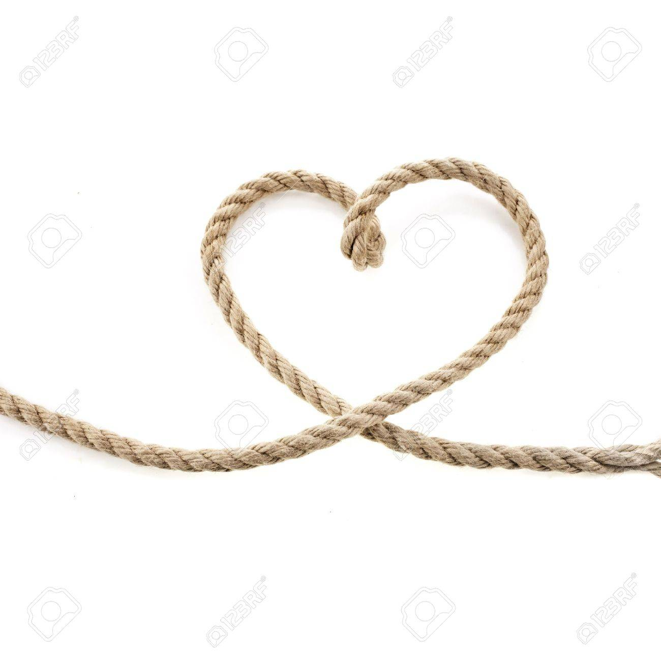 Heart Shaped Knot on a Jute rope isolated on white background - 20136740