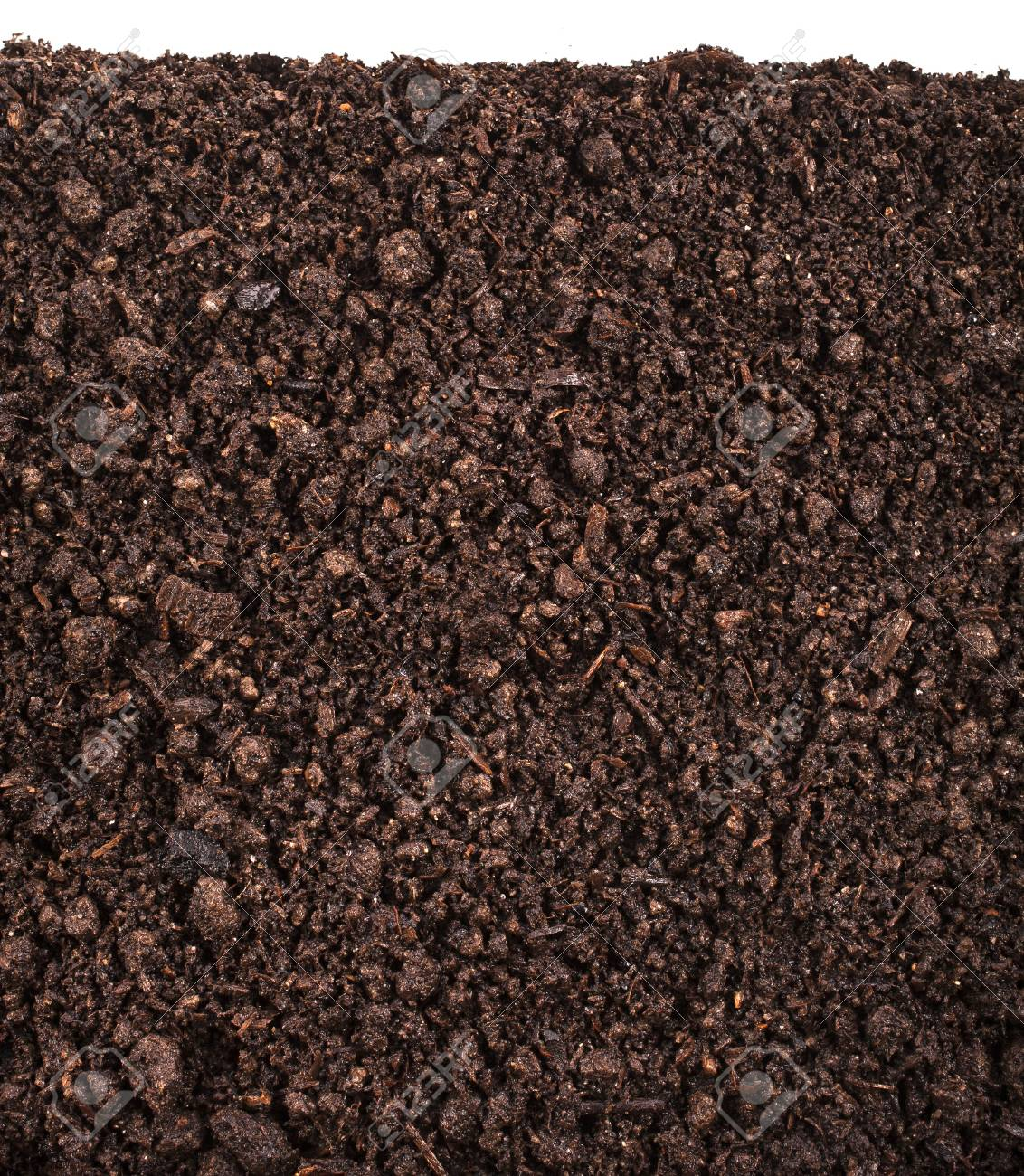 Close up of organic soil isolated on white background Stock Photo - 20509404