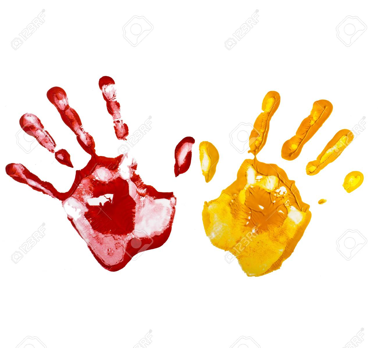Multicolored hand print , isolated on a white background Stock Photo - 20932119