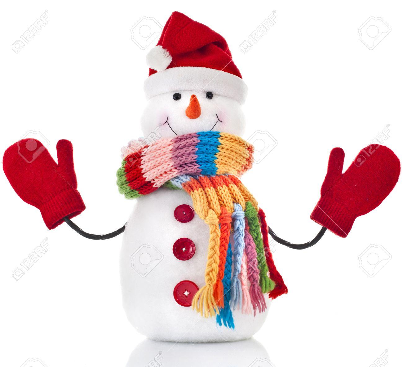 mueco de nieve de la navidad con la bufanda de rayas de colores y