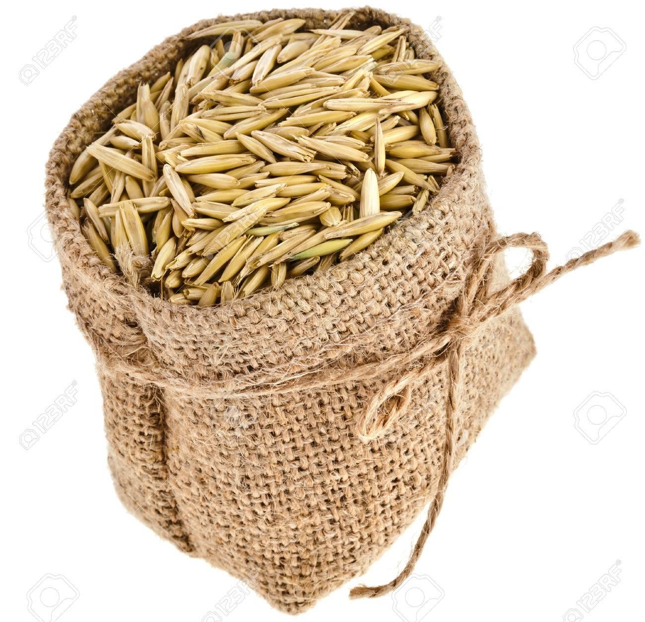 grano de la semilla de avena en bolsa de arpillera saco aislado en el fondo blanco