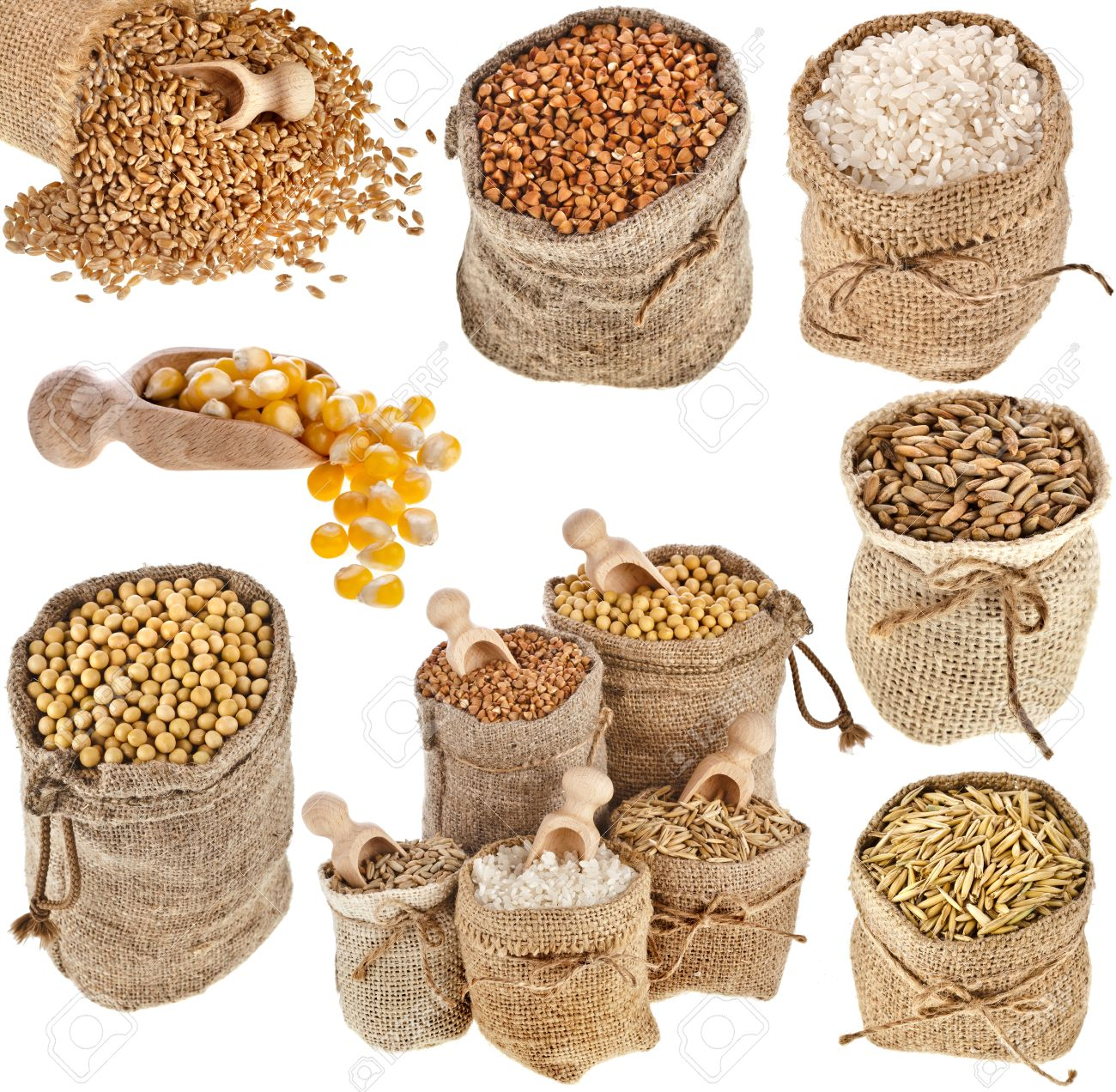 Small burlap bags Pouch Collection Set Of Kinds Of Cereal In Small Burlap Bags Isolated On White Background Stock Photo Poshmark Collection Set Of Kinds Of Cereal In Small Burlap Bags Isolated