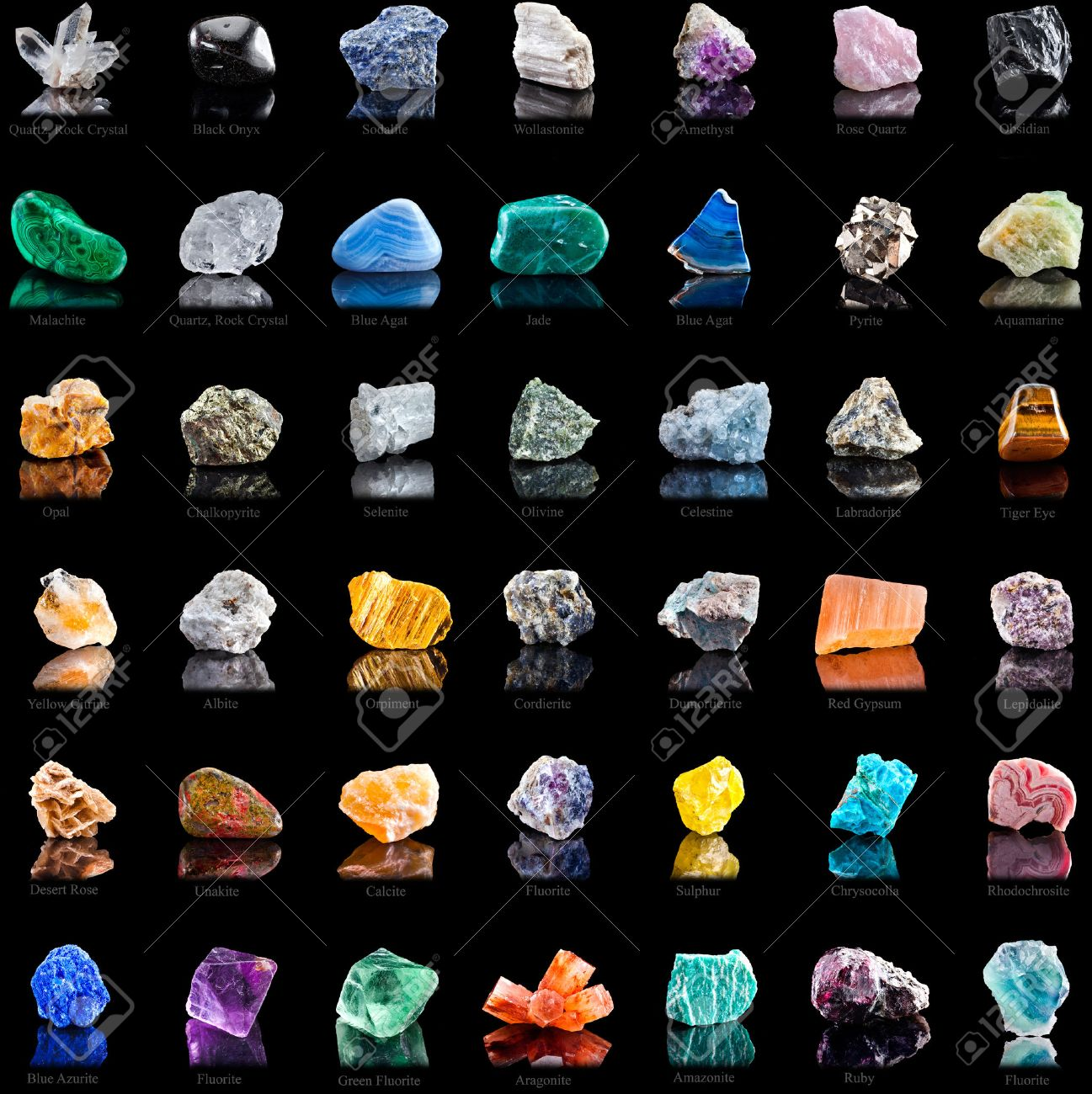Collection Set Of Semi-precious Gemstones Stones And Minerals ...