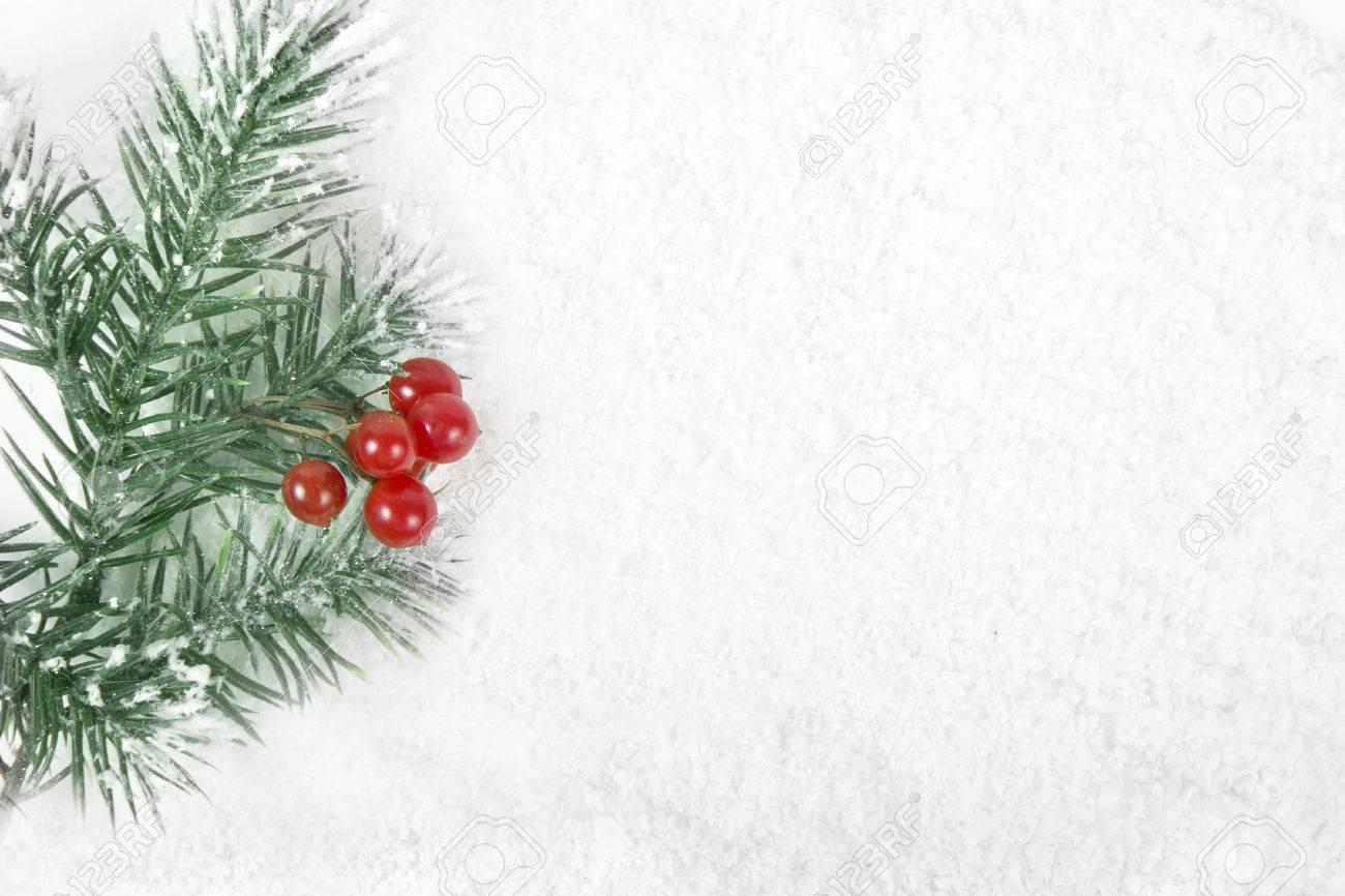 Marco De La Frontera De La Navidad Con El árbol De La Nieve Y Bayas ...