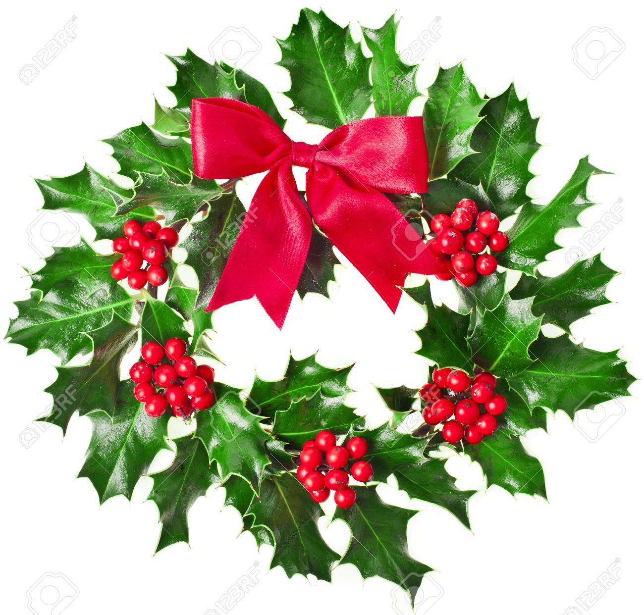 Lovely Christmas Holly Tree Part - 3: Christmas Decoration Wreath Of Fresh Berries And Leaves Holly Tree Isolated  On White Background Stock Photo