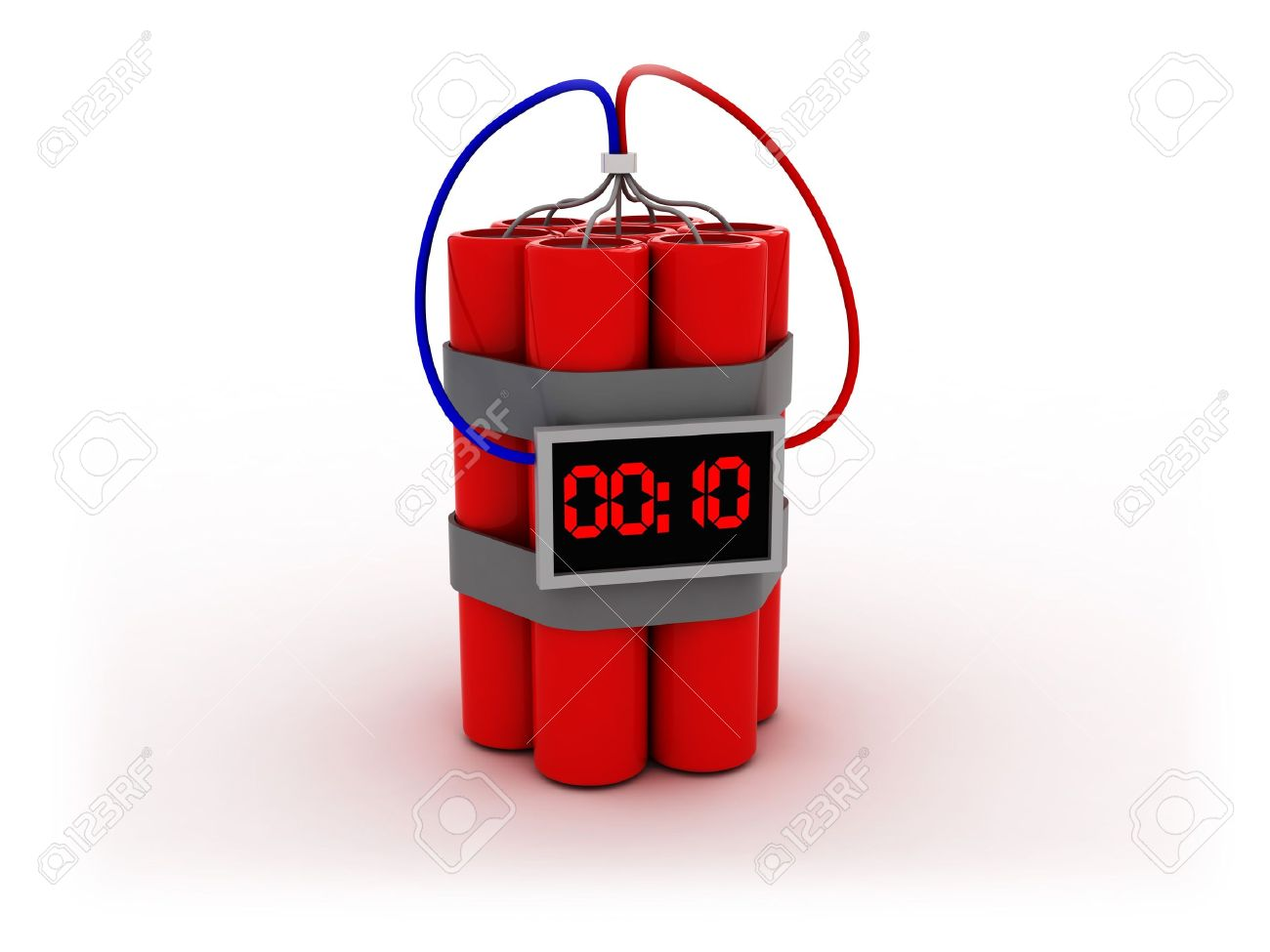 3d illustration of bomb with electronic timer Stock Illustration - 3833621