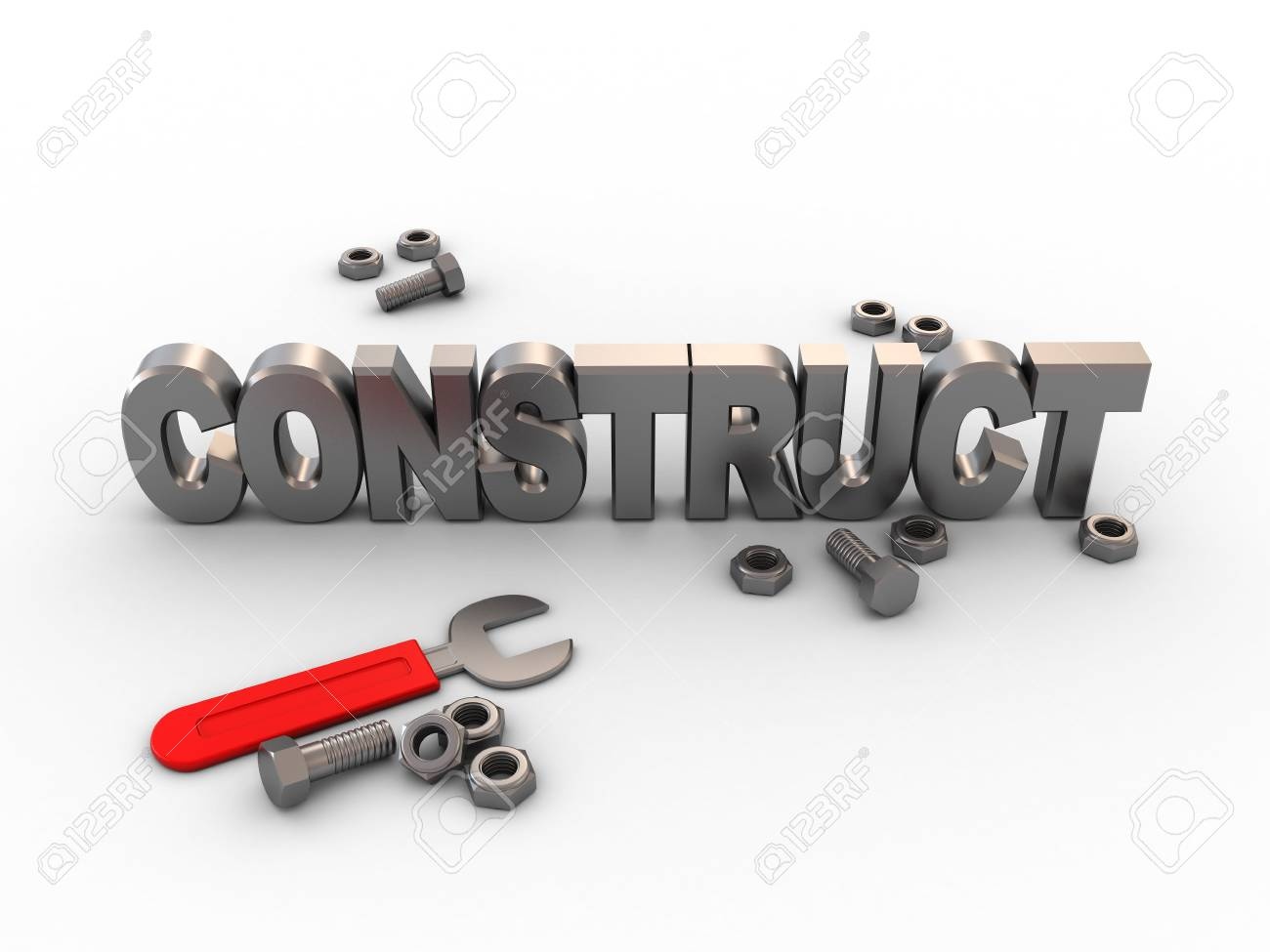 3d illustration of construction with wrench and nuts Stock Illustration - 3911204