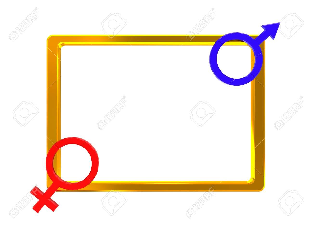 3d illustration of golden frame with sex signs Stock Illustration - 4011342