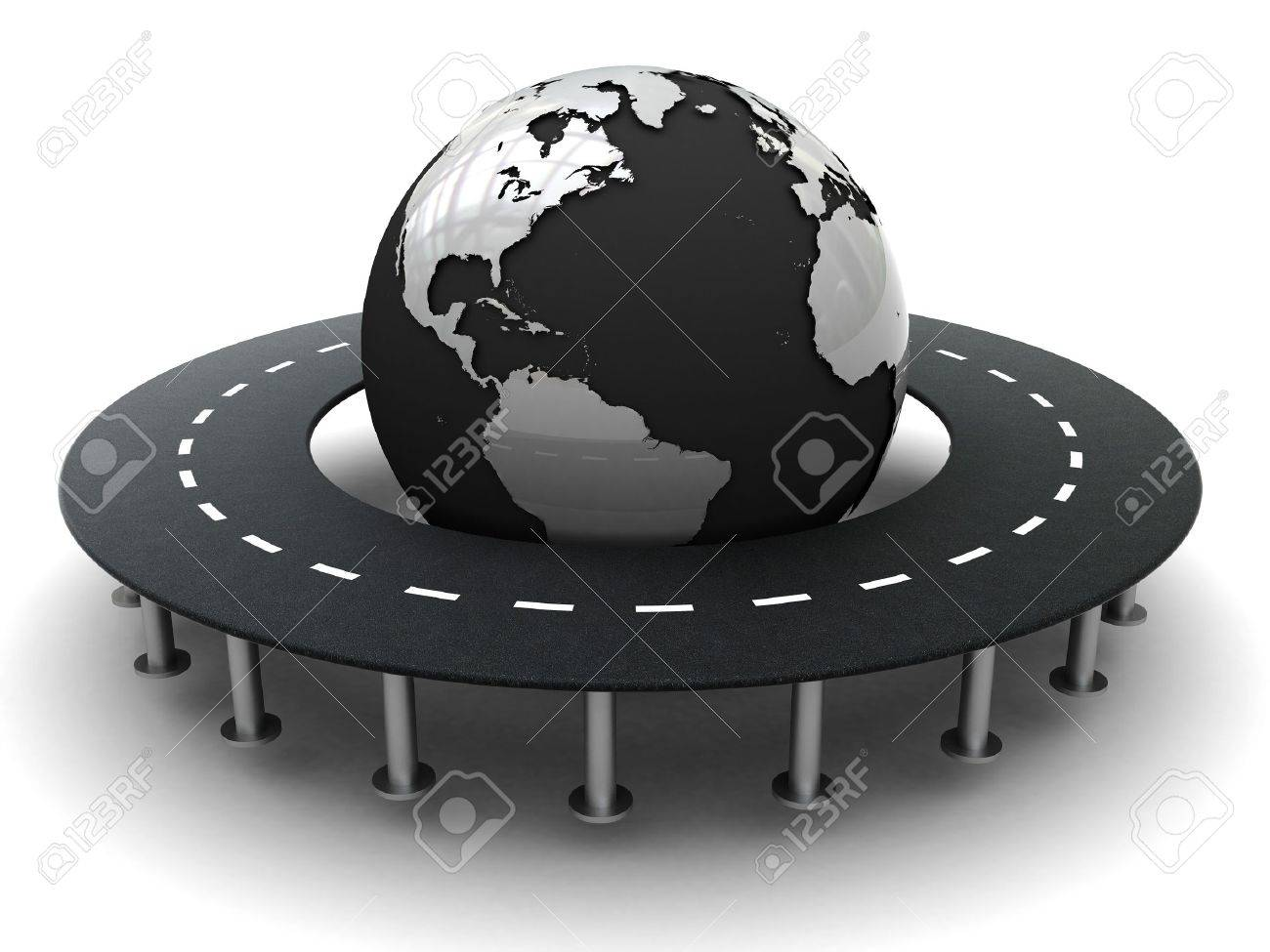 3d illustration of highway around earth over white background Stock Illustration - 4044059