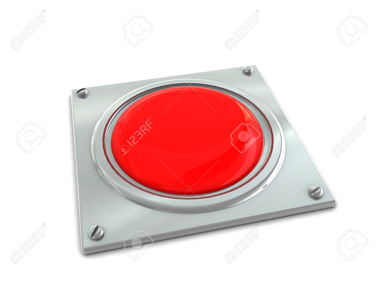 3d illustration of red button on steel plate Stock Illustration - 4085639