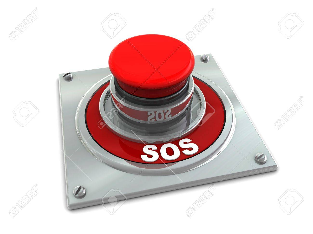 3d illustration of red button with text 'sos' on it, white background Stock Illustration - 4161180